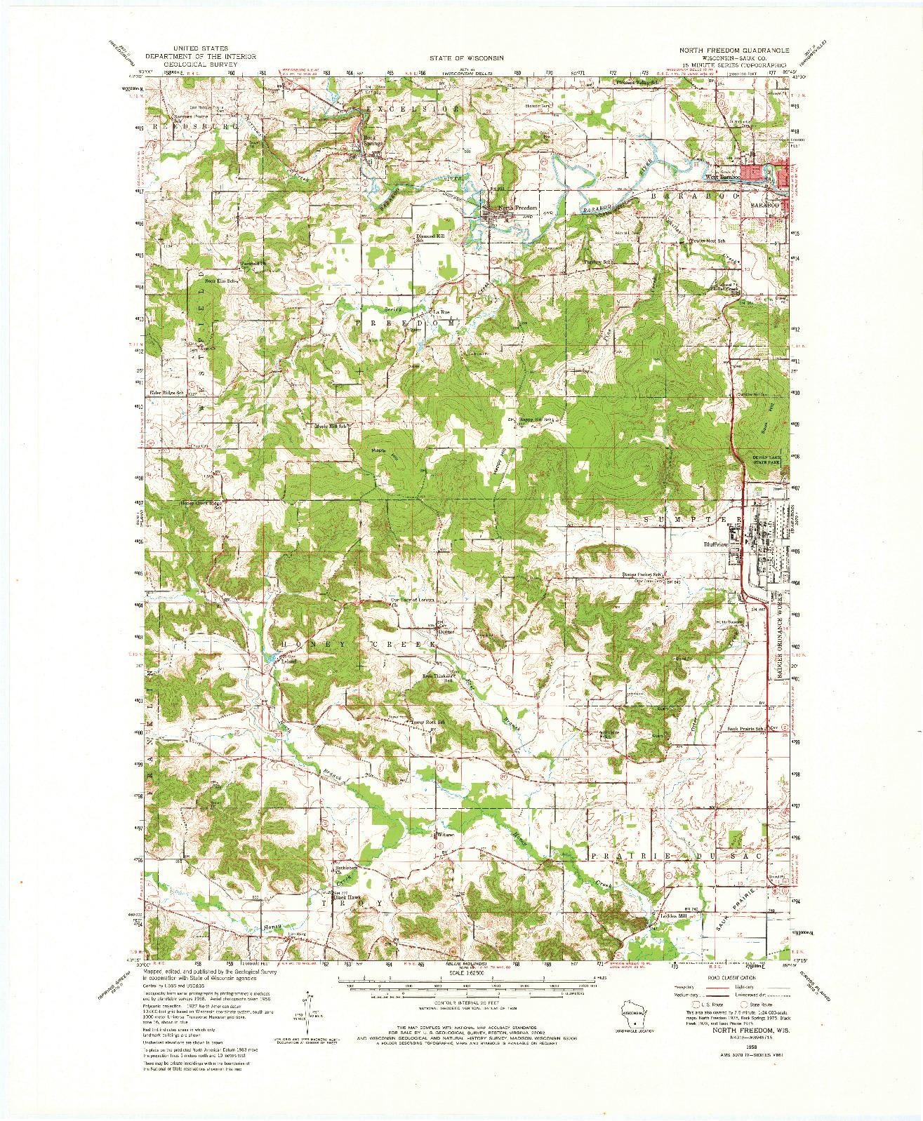 USGS 1:62500-SCALE QUADRANGLE FOR NORTH FREEDOM, WI 1958