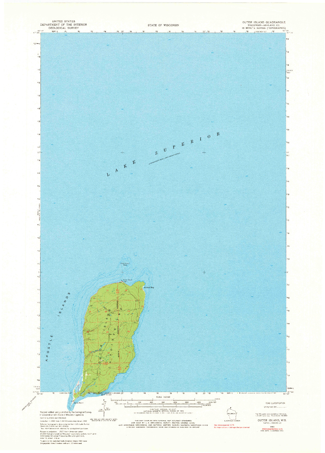 USGS 1:62500-SCALE QUADRANGLE FOR OUTER ISLAND, WI 1963