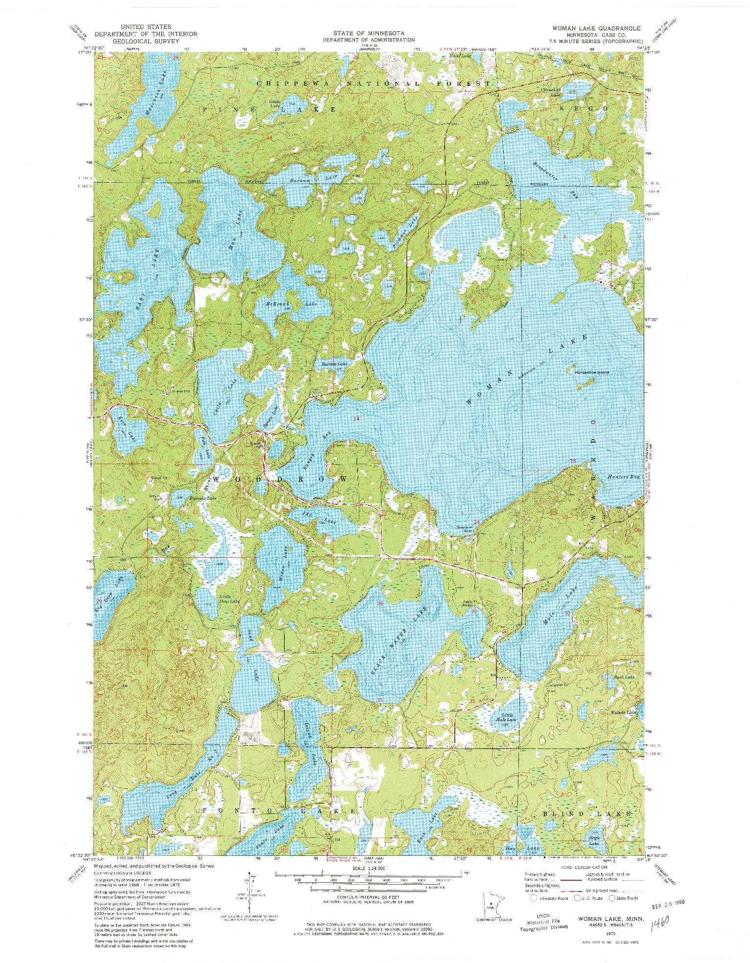 USGS 1:24000-SCALE QUADRANGLE FOR WOMAN LAKE, MN 1970