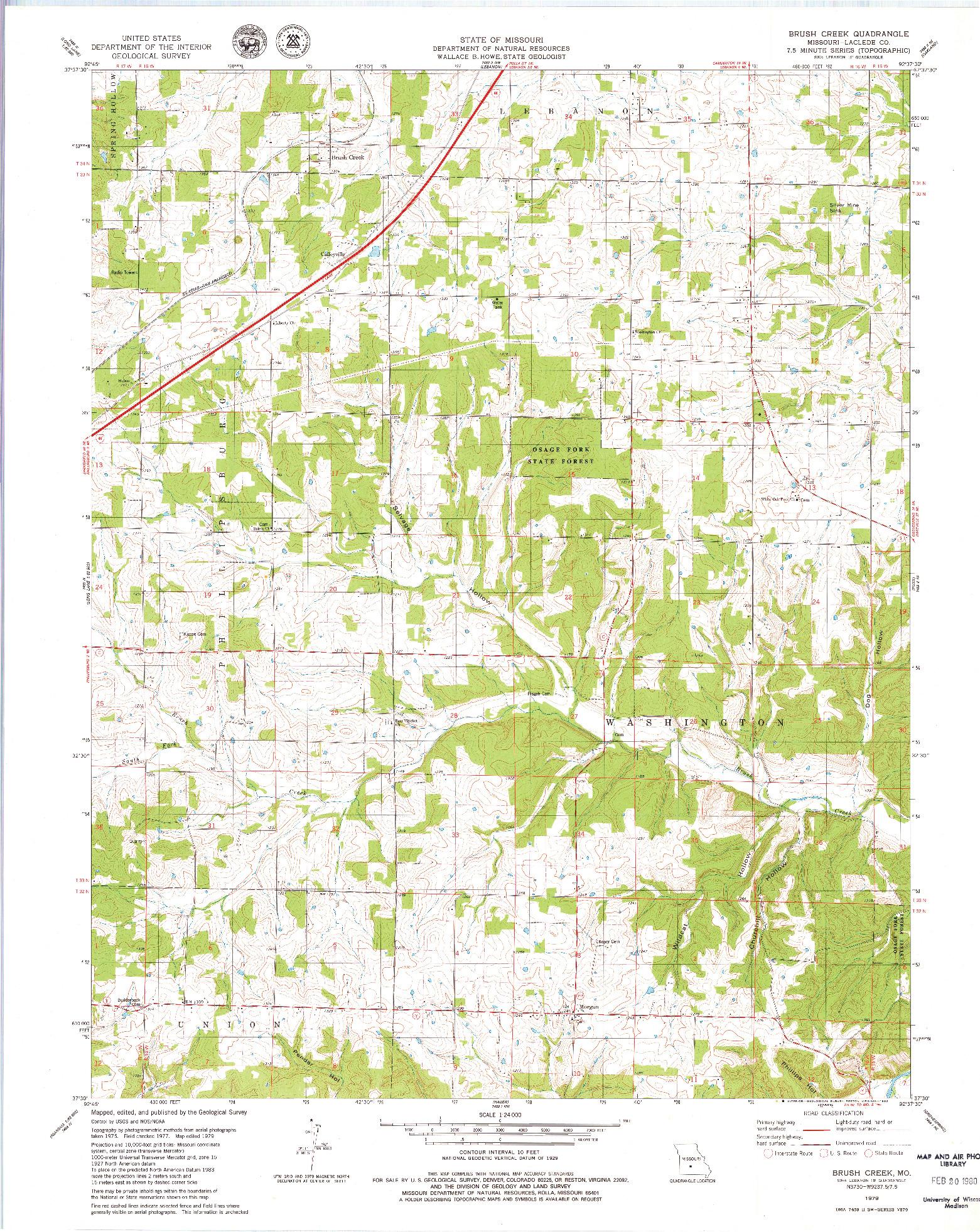 USGS 1:24000-SCALE QUADRANGLE FOR BRUSH CREEK, MO 1979