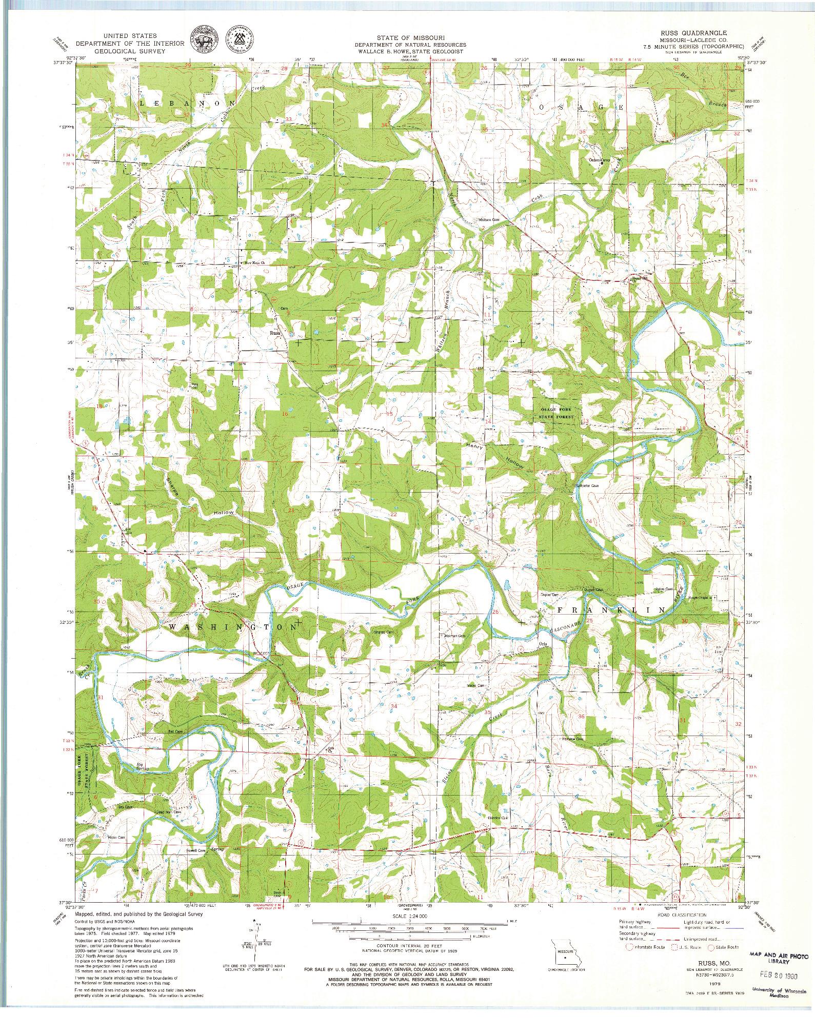 USGS 1:24000-SCALE QUADRANGLE FOR RUSS, MO 1979
