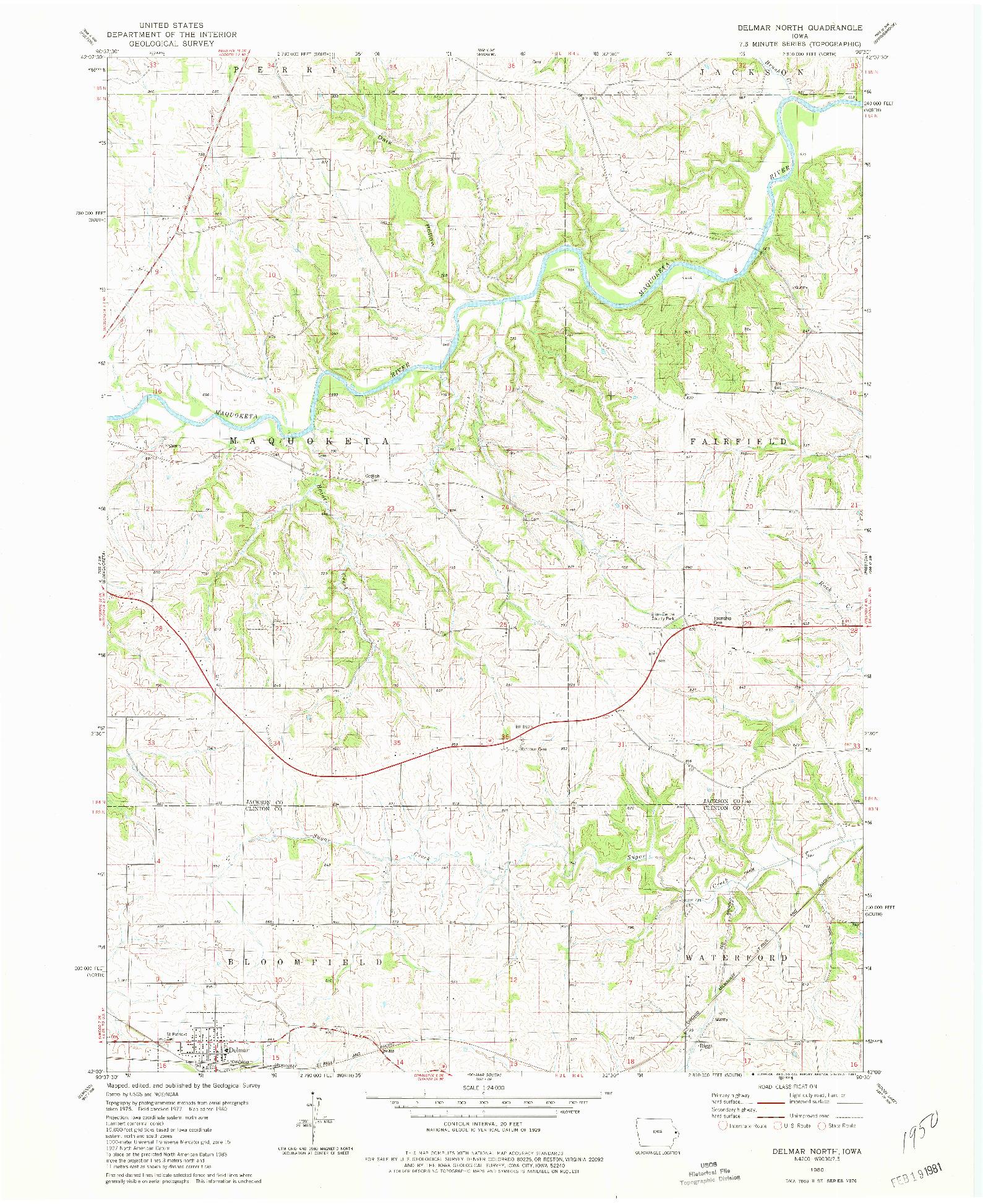 USGS 1:24000-SCALE QUADRANGLE FOR DELMAR NORTH, IA 1980