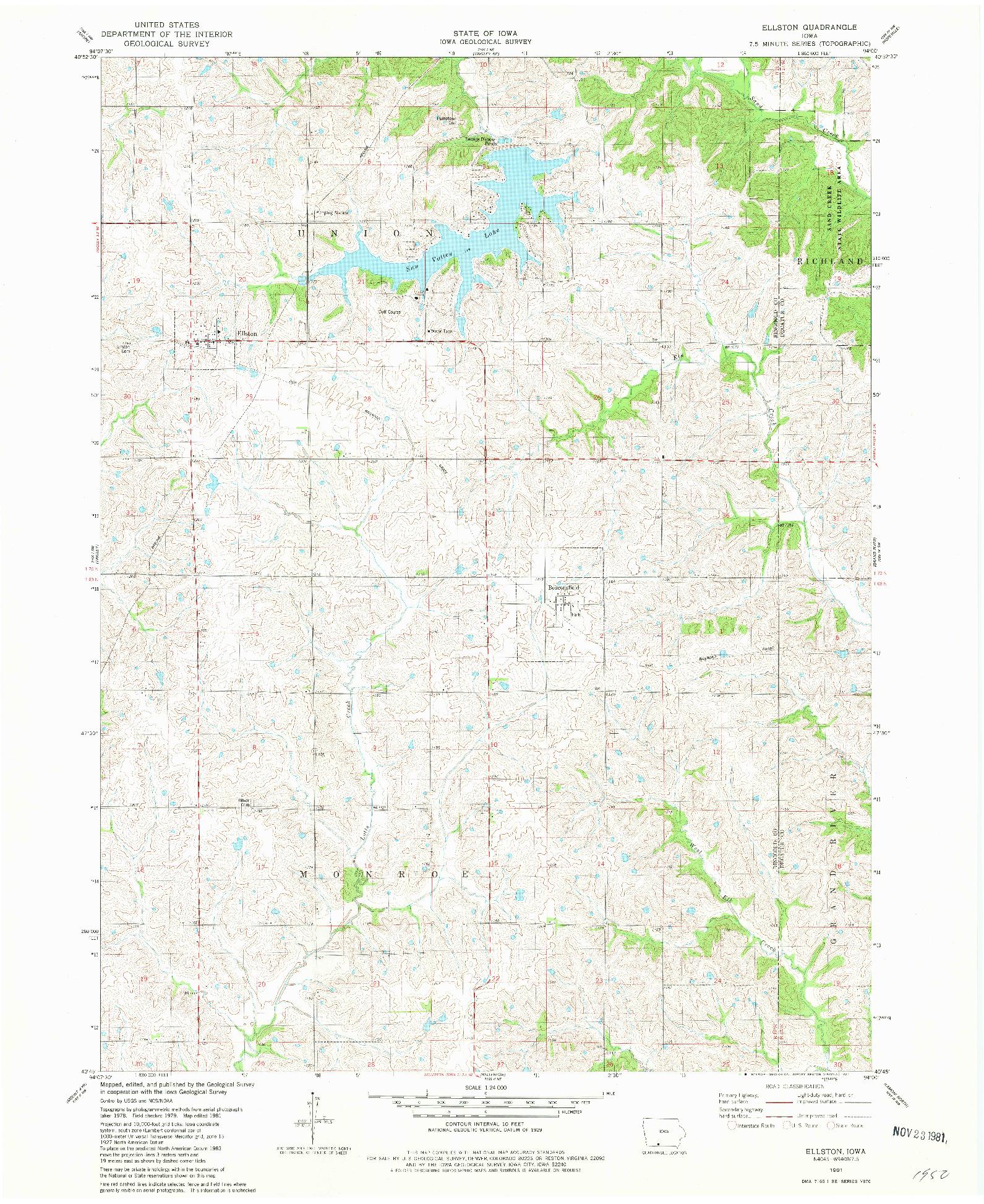 USGS 1:24000-SCALE QUADRANGLE FOR ELLSTON, IA 1981