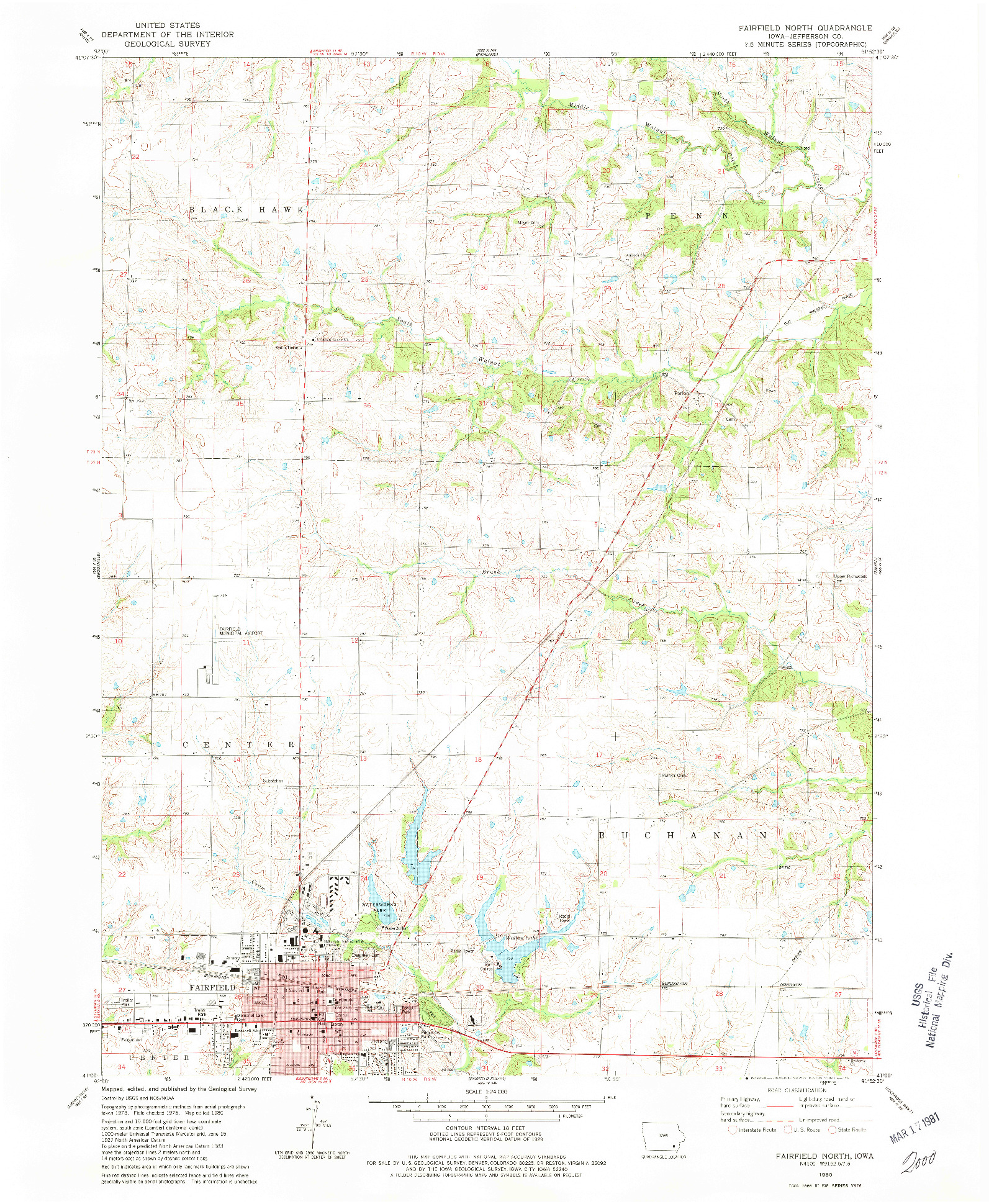 USGS 1:24000-SCALE QUADRANGLE FOR FAIRFIELD NORTH, IA 1980