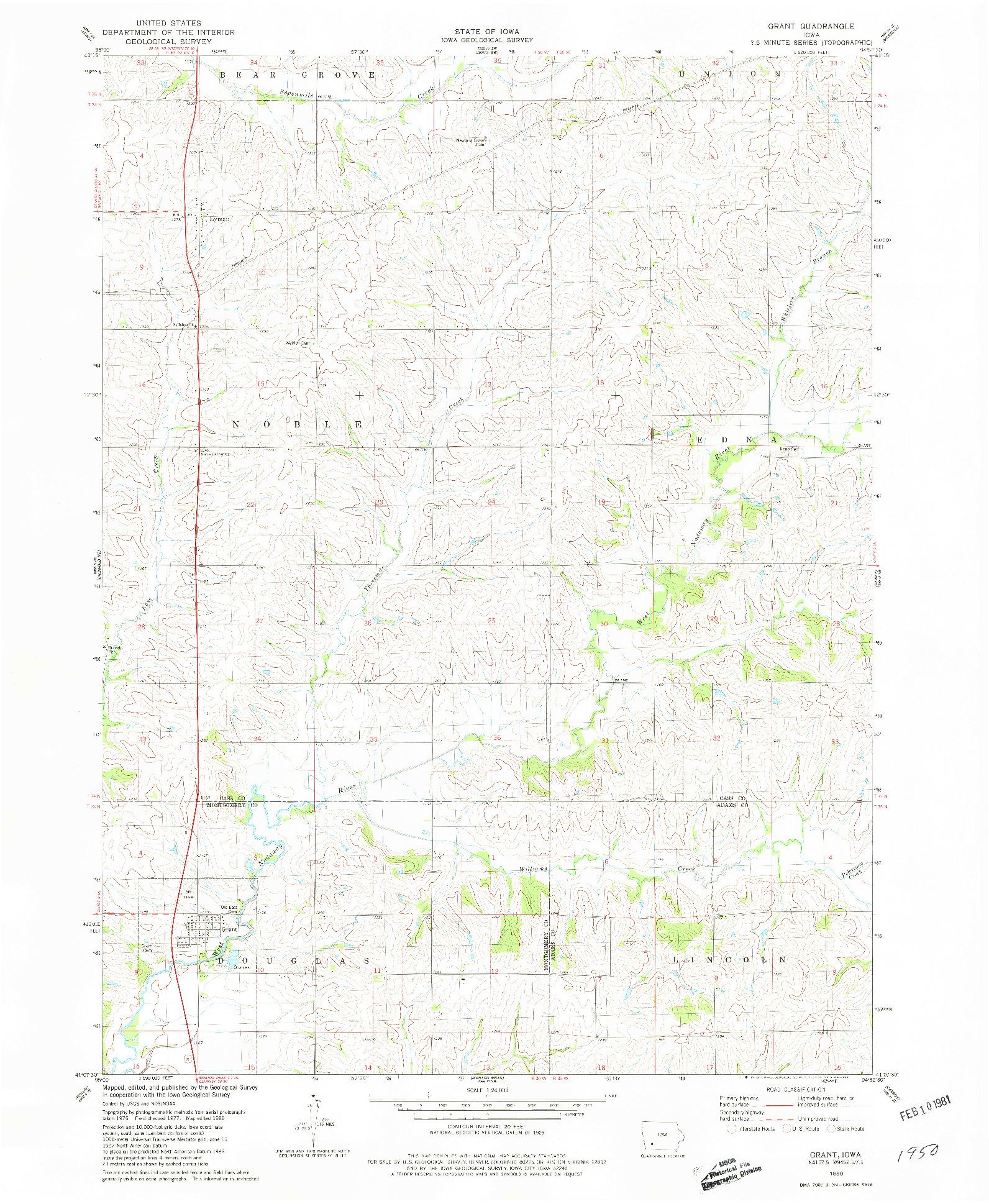 USGS 1:24000-SCALE QUADRANGLE FOR GRANT, IA 1980