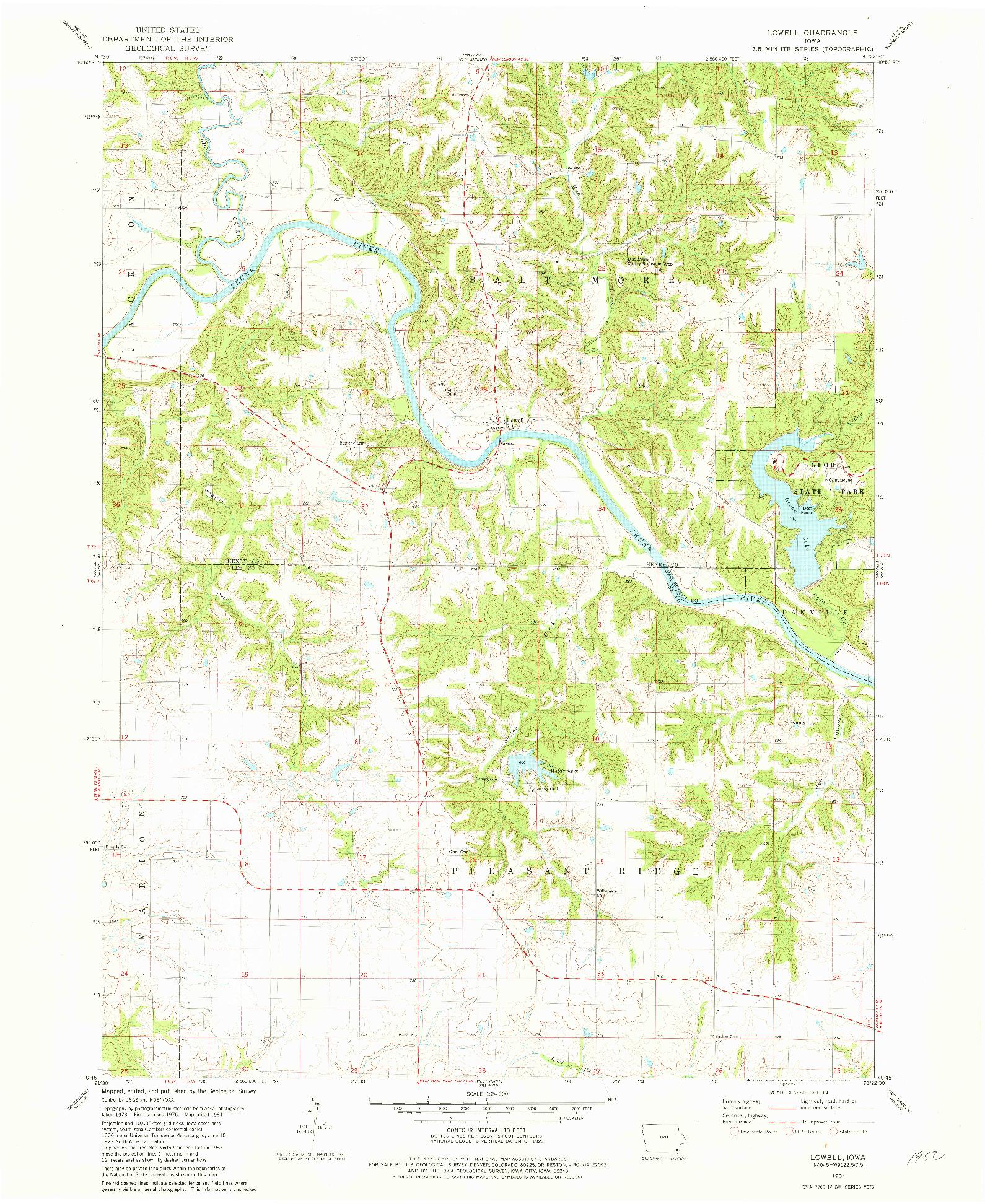 USGS 1:24000-SCALE QUADRANGLE FOR LOWELL, IA 1981