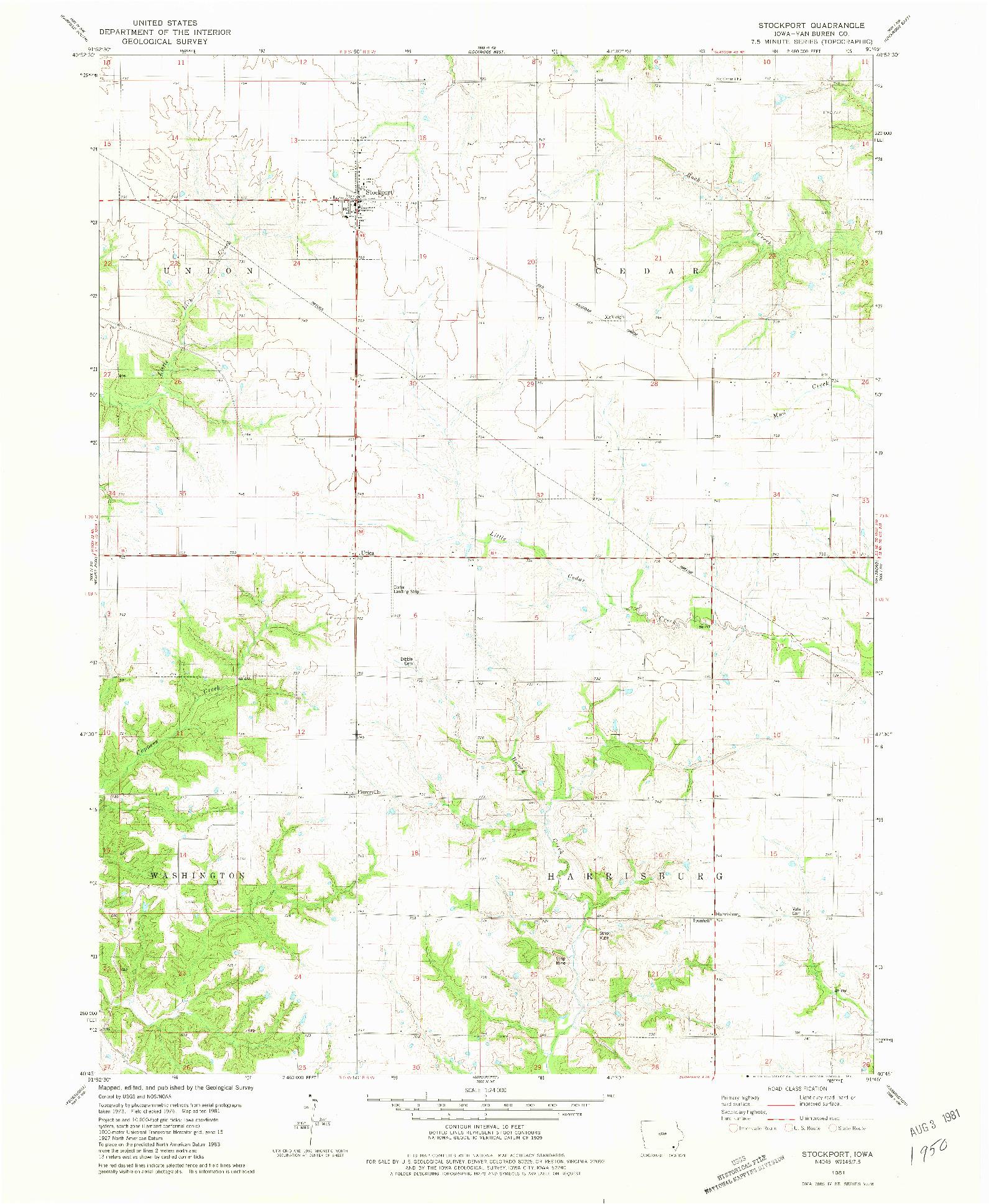USGS 1:24000-SCALE QUADRANGLE FOR STOCKPORT, IA 1981