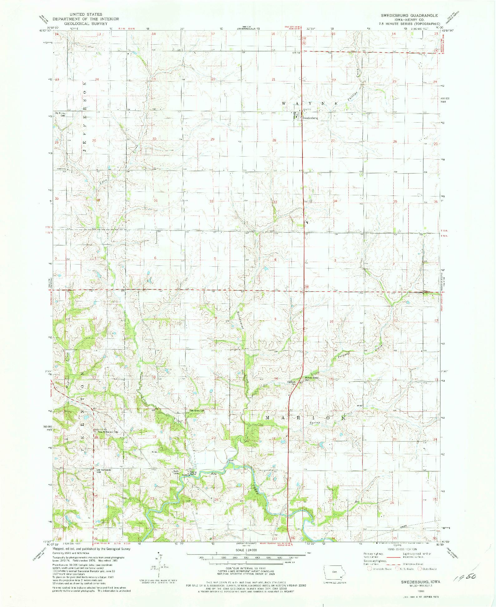 USGS 1:24000-SCALE QUADRANGLE FOR SWEDESBURG, IA 1981