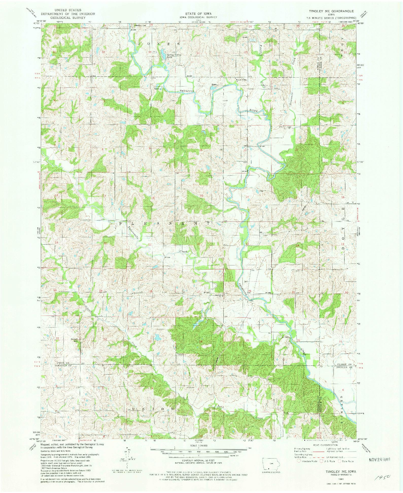 USGS 1:24000-SCALE QUADRANGLE FOR TINGLEY NE, IA 1981