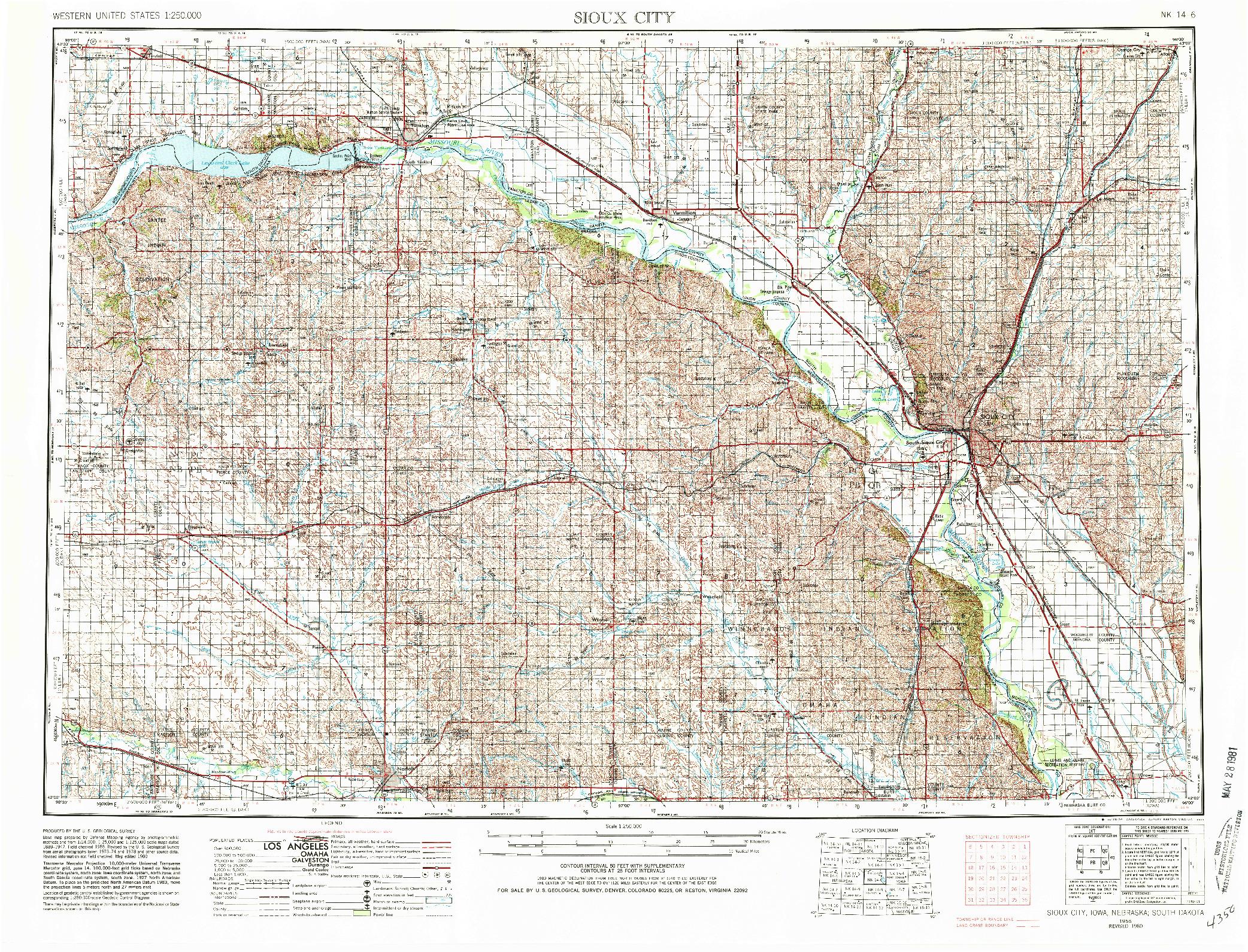 USGS 1:250000-SCALE QUADRANGLE FOR SIOUX CITY, IA 1955