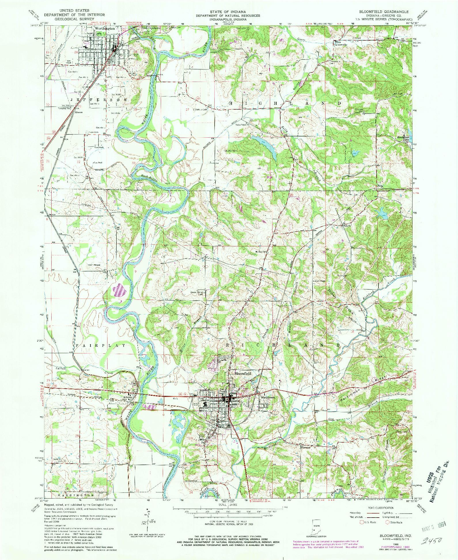USGS 1:24000-SCALE QUADRANGLE FOR BLOOMFIELD, IN 1966