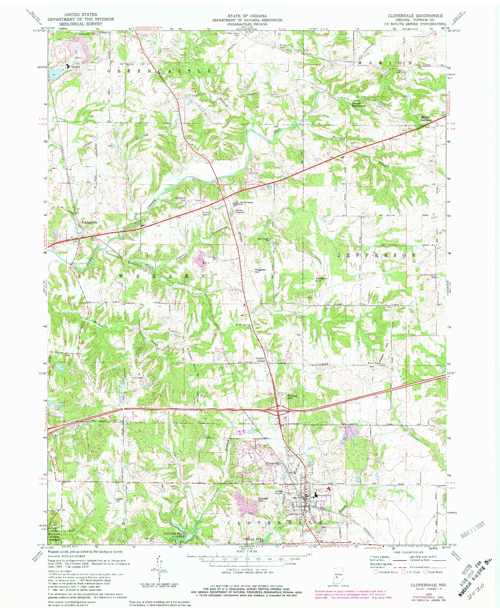 USGS 1:24000-SCALE QUADRANGLE FOR CLOVERDALE, IN 1970