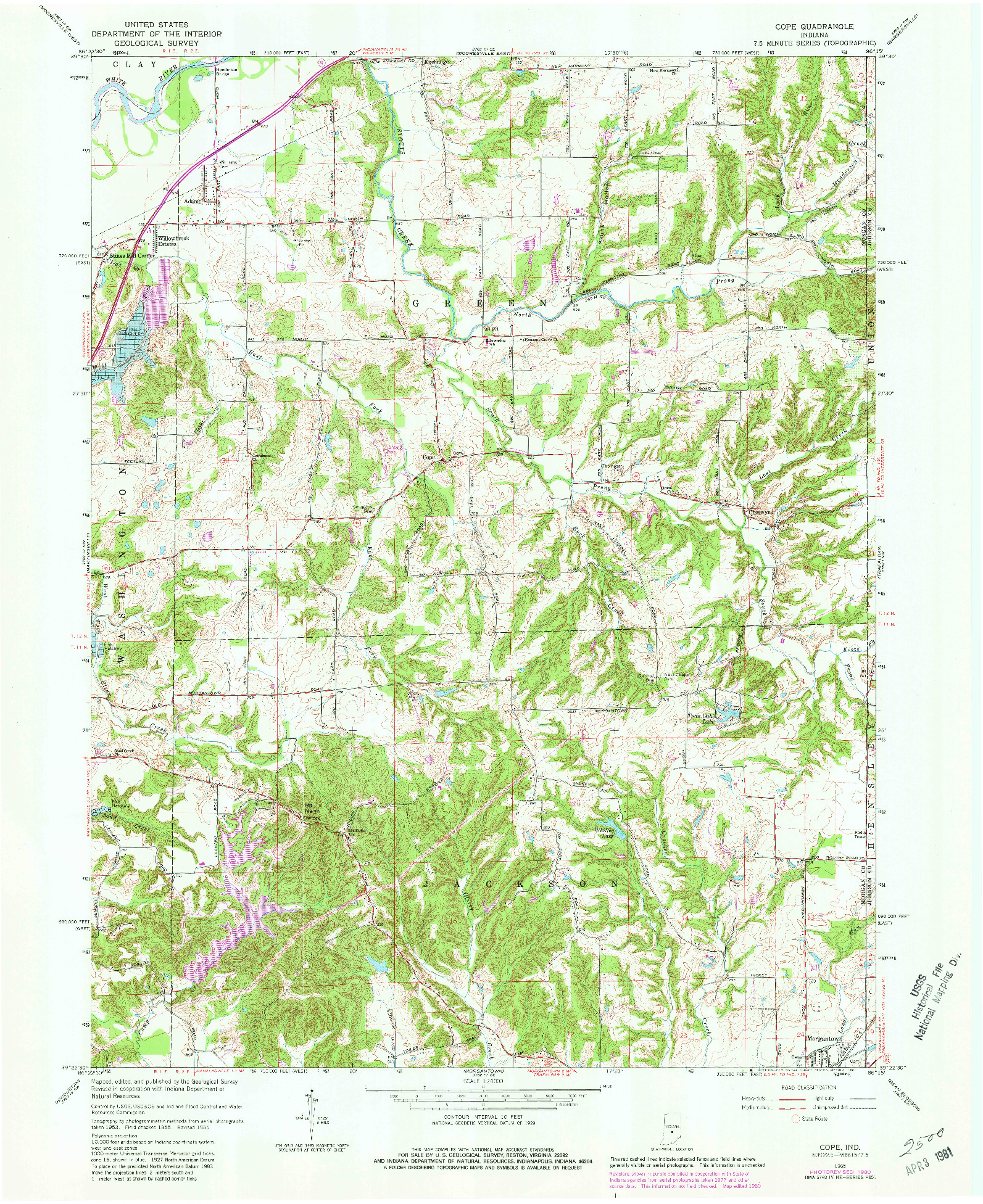 USGS 1:24000-SCALE QUADRANGLE FOR COPE, IN 1965