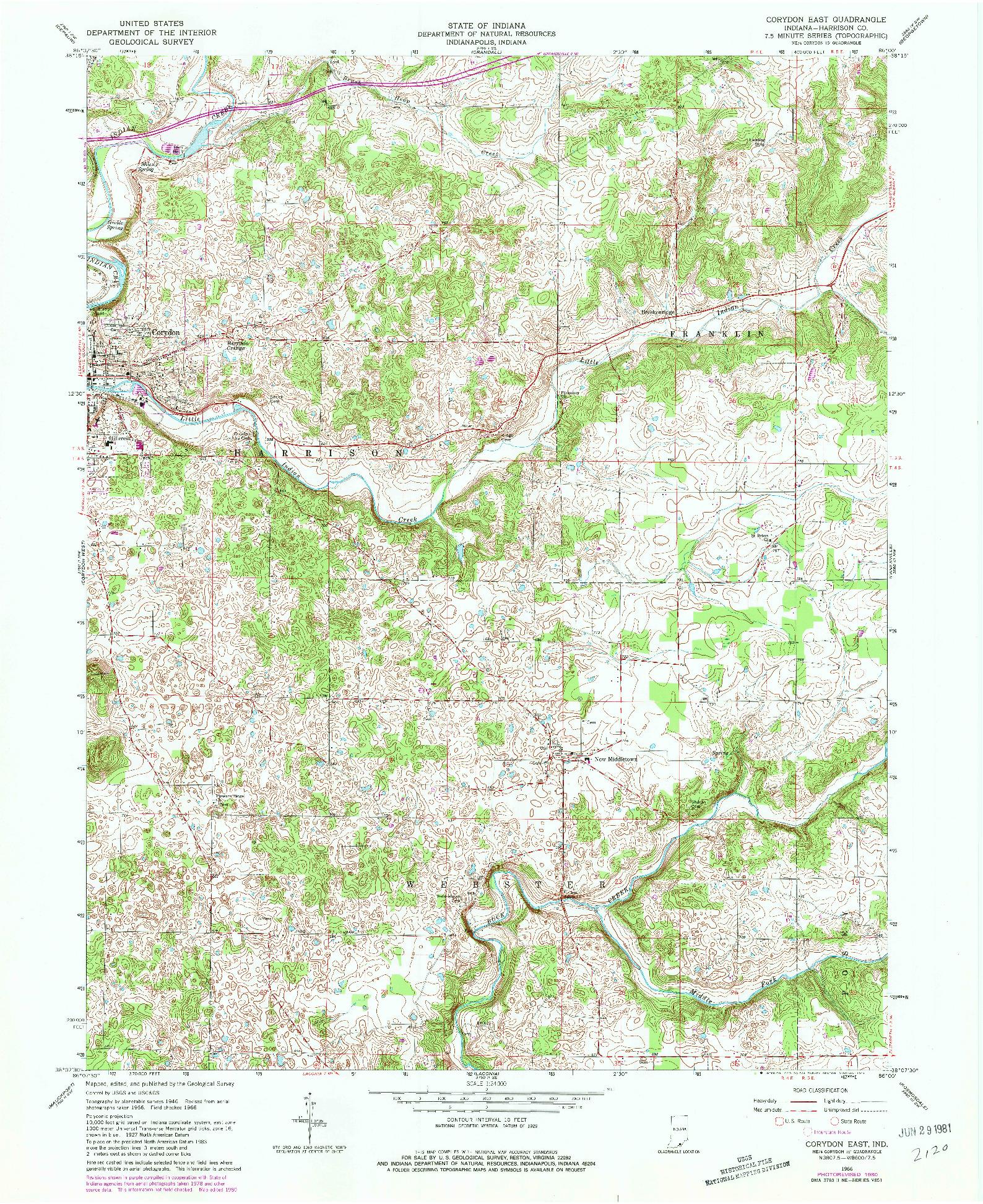 USGS 1:24000-SCALE QUADRANGLE FOR CORYDON EAST, IN 1966
