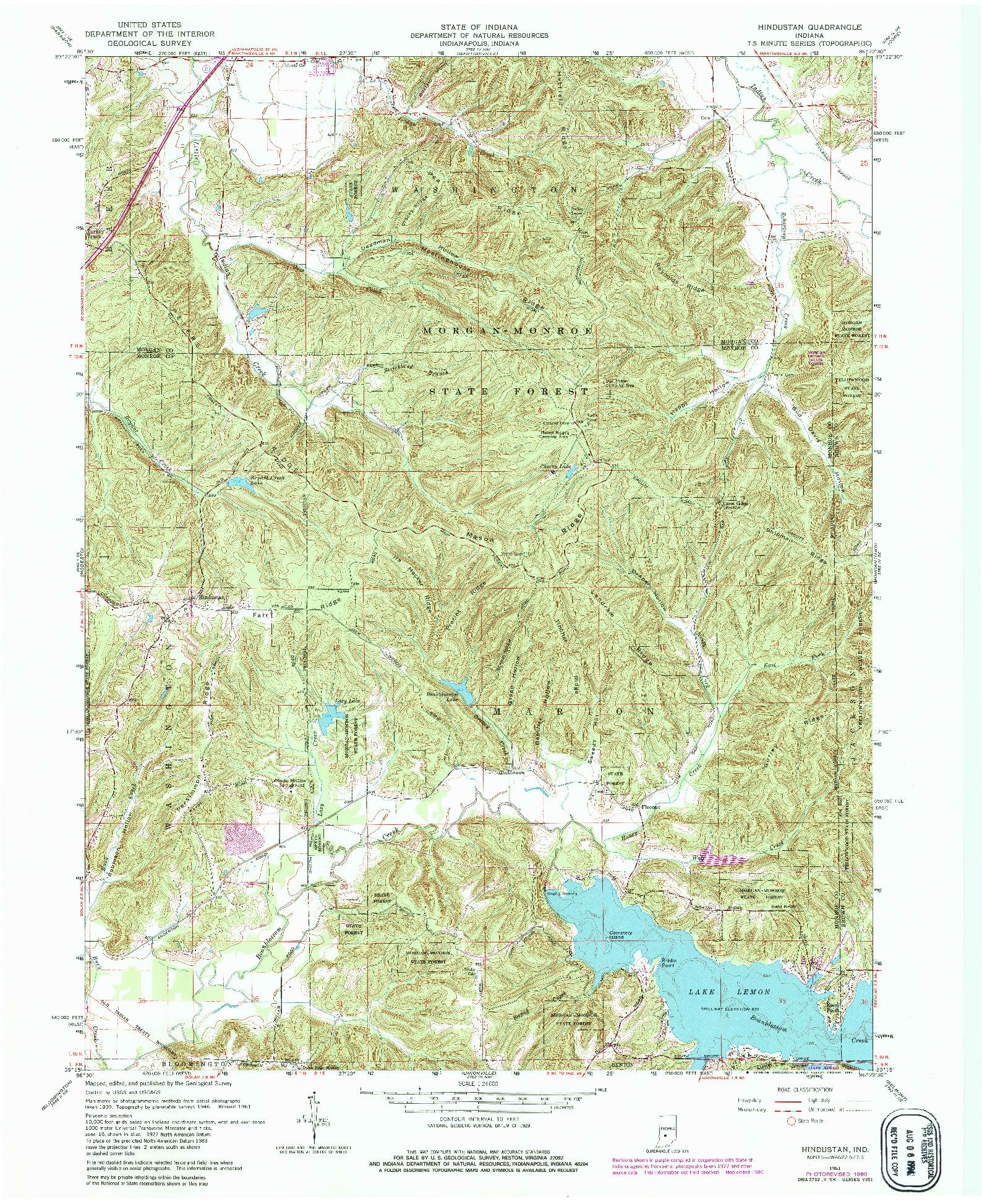 USGS 1:24000-SCALE QUADRANGLE FOR HINDUSTAN, IN 1961