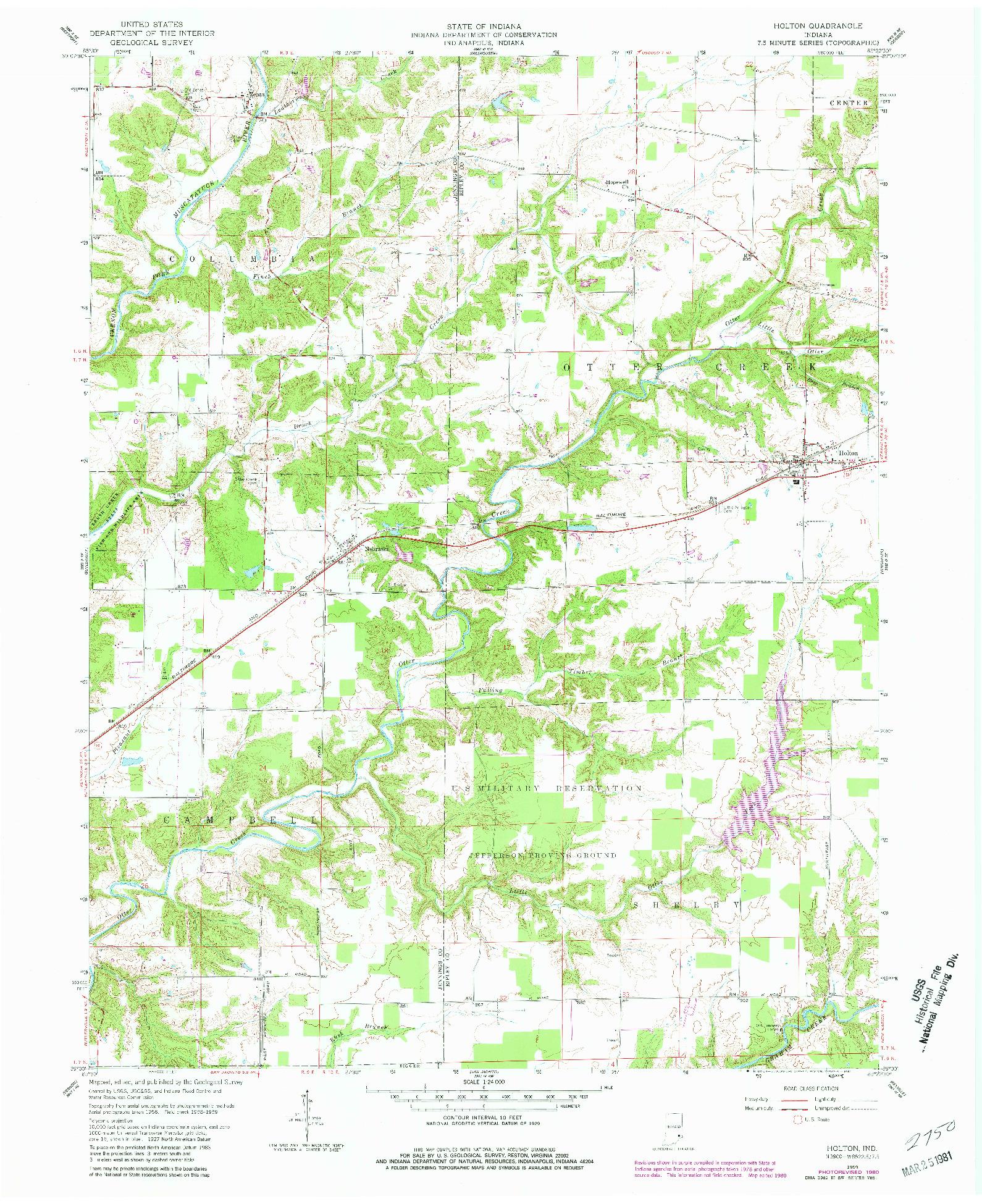USGS 1:24000-SCALE QUADRANGLE FOR HOLTON, IN 1959