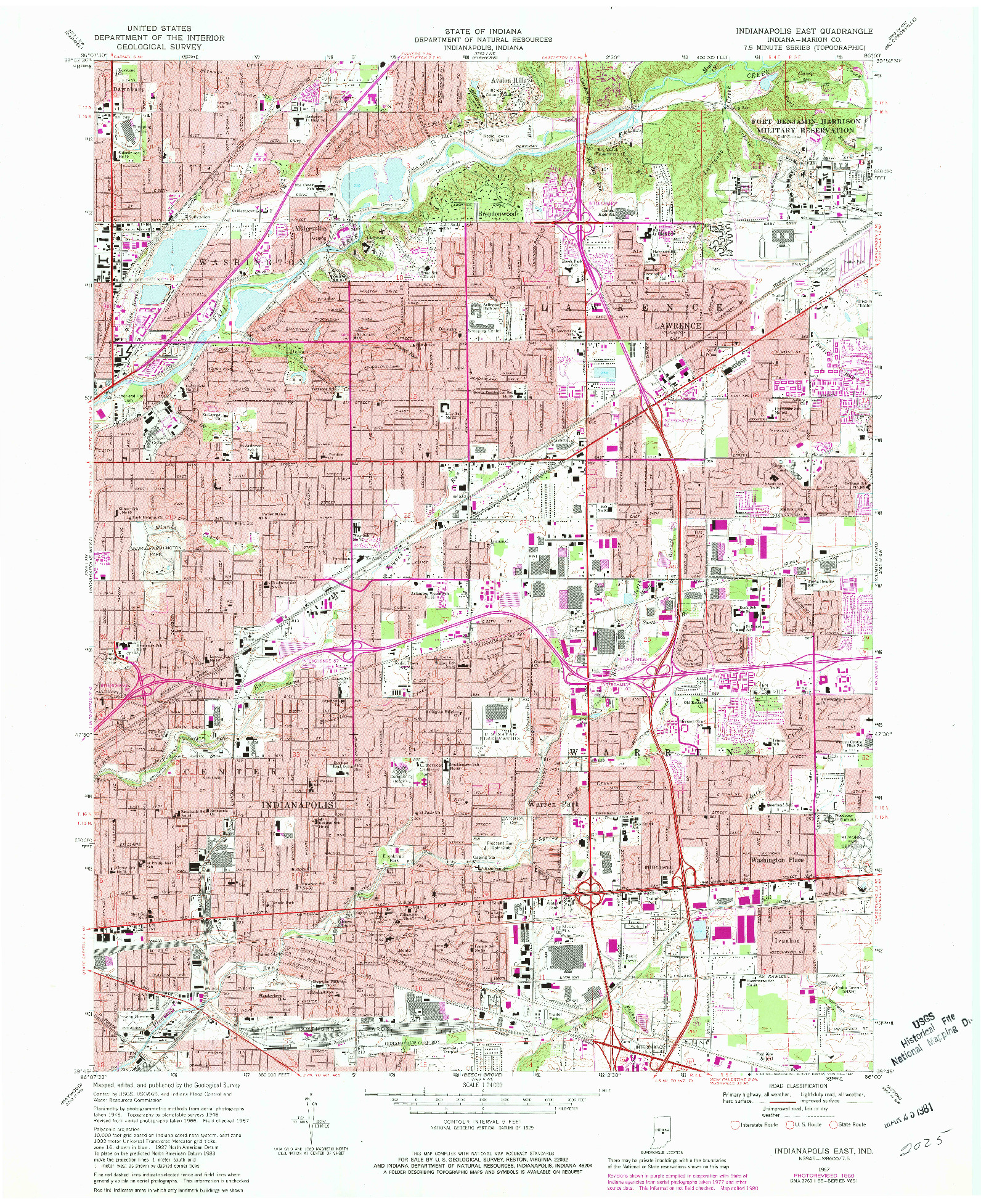 USGS 1:24000-SCALE QUADRANGLE FOR INDIANAPOLIS EAST, IN 1967