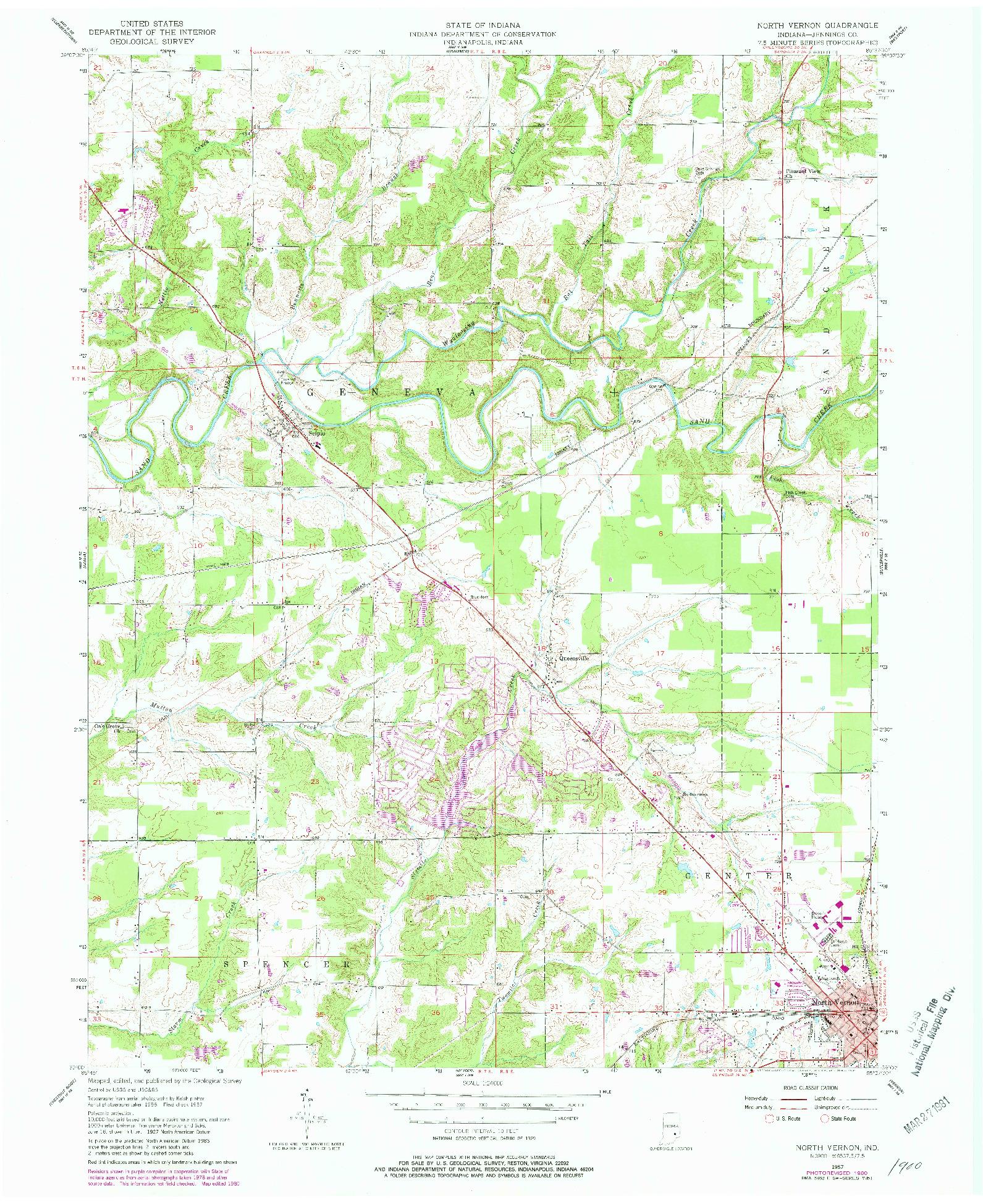 USGS 1:24000-SCALE QUADRANGLE FOR NORTH VERNON, IN 1957