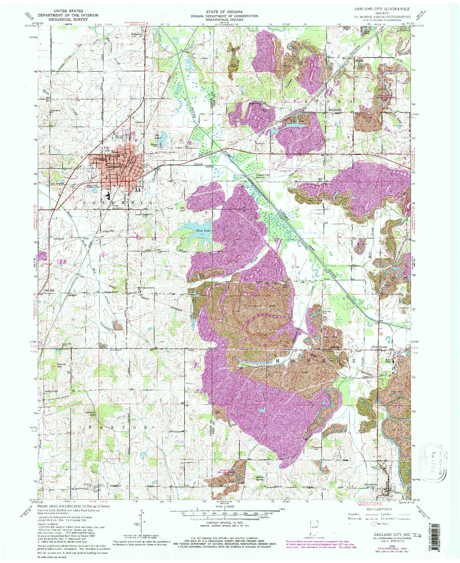 USGS 1:24000-SCALE QUADRANGLE FOR OAKLAND CITY, IN 1961
