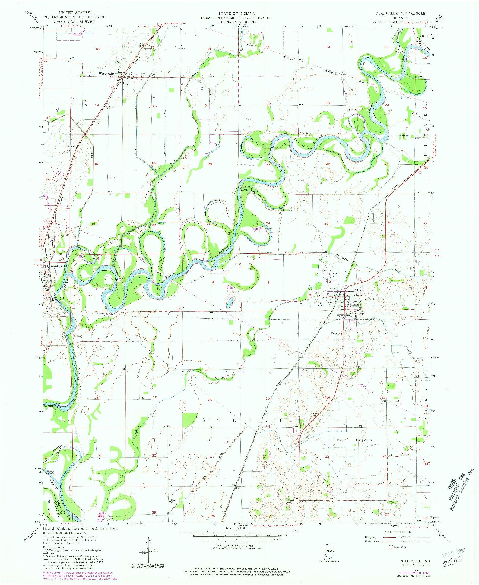 USGS 1:24000-SCALE QUADRANGLE FOR PLAINVILLE, IN 1957