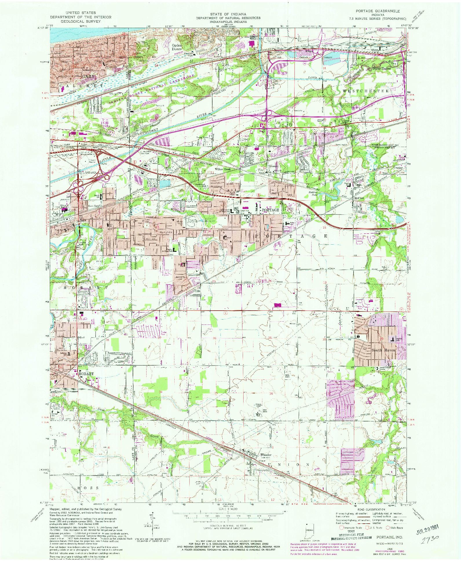 USGS 1:24000-SCALE QUADRANGLE FOR PORTAGE, IN 1968