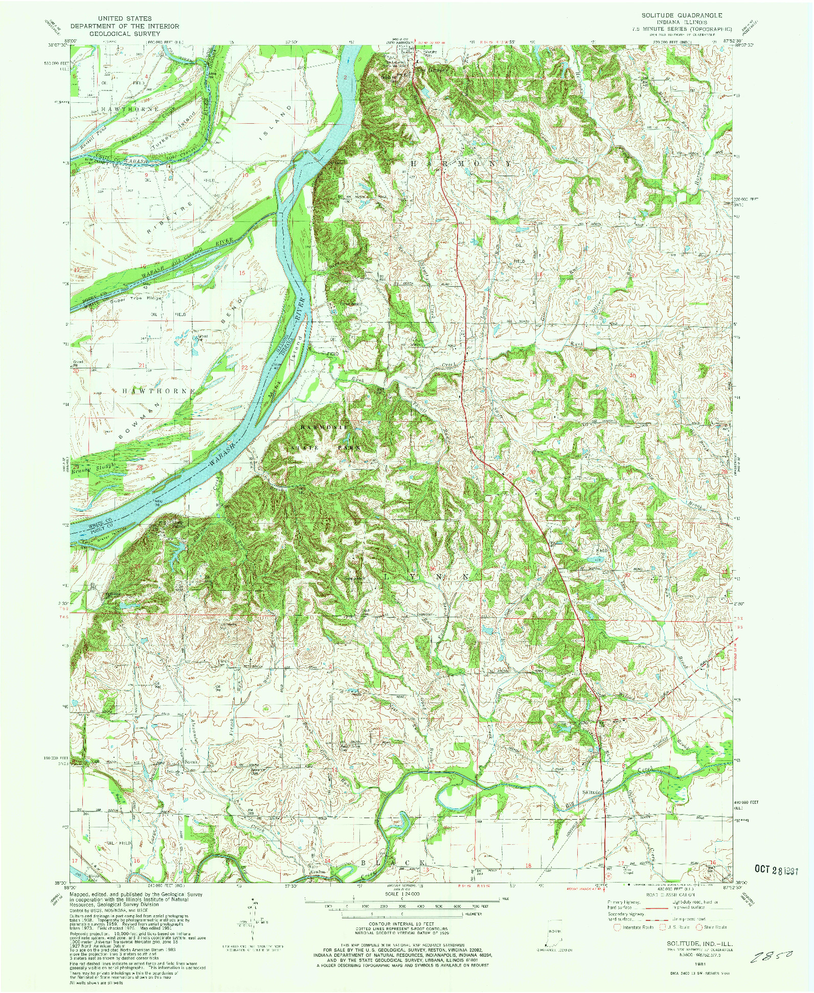 USGS 1:24000-SCALE QUADRANGLE FOR SOLITUDE, IN 1981