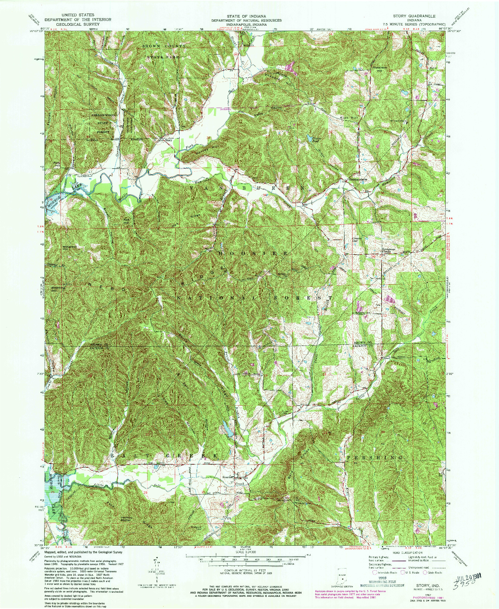 USGS 1:24000-SCALE QUADRANGLE FOR STORY, IN 1967