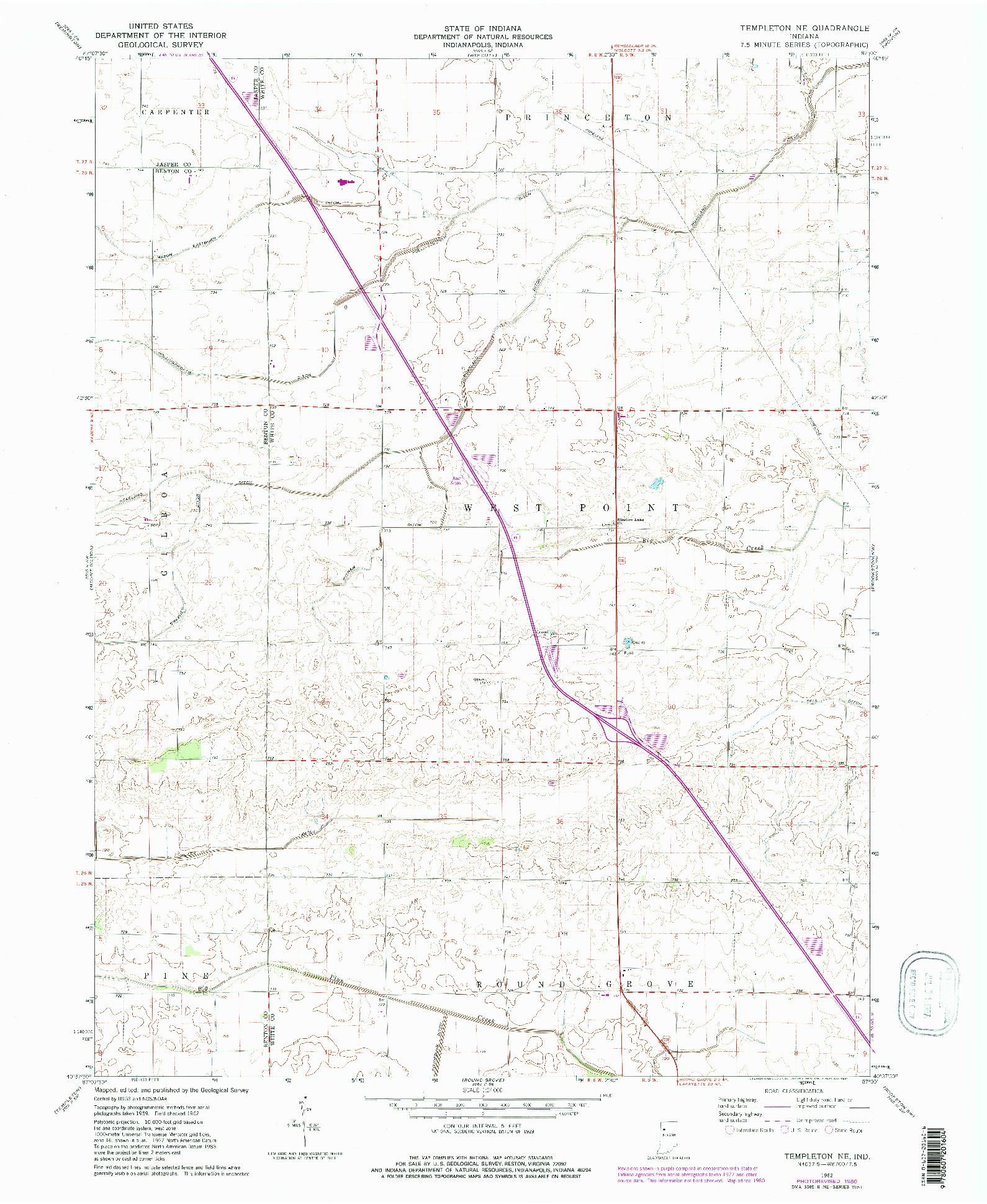 USGS 1:24000-SCALE QUADRANGLE FOR TEMPLETON NE, IN 1962