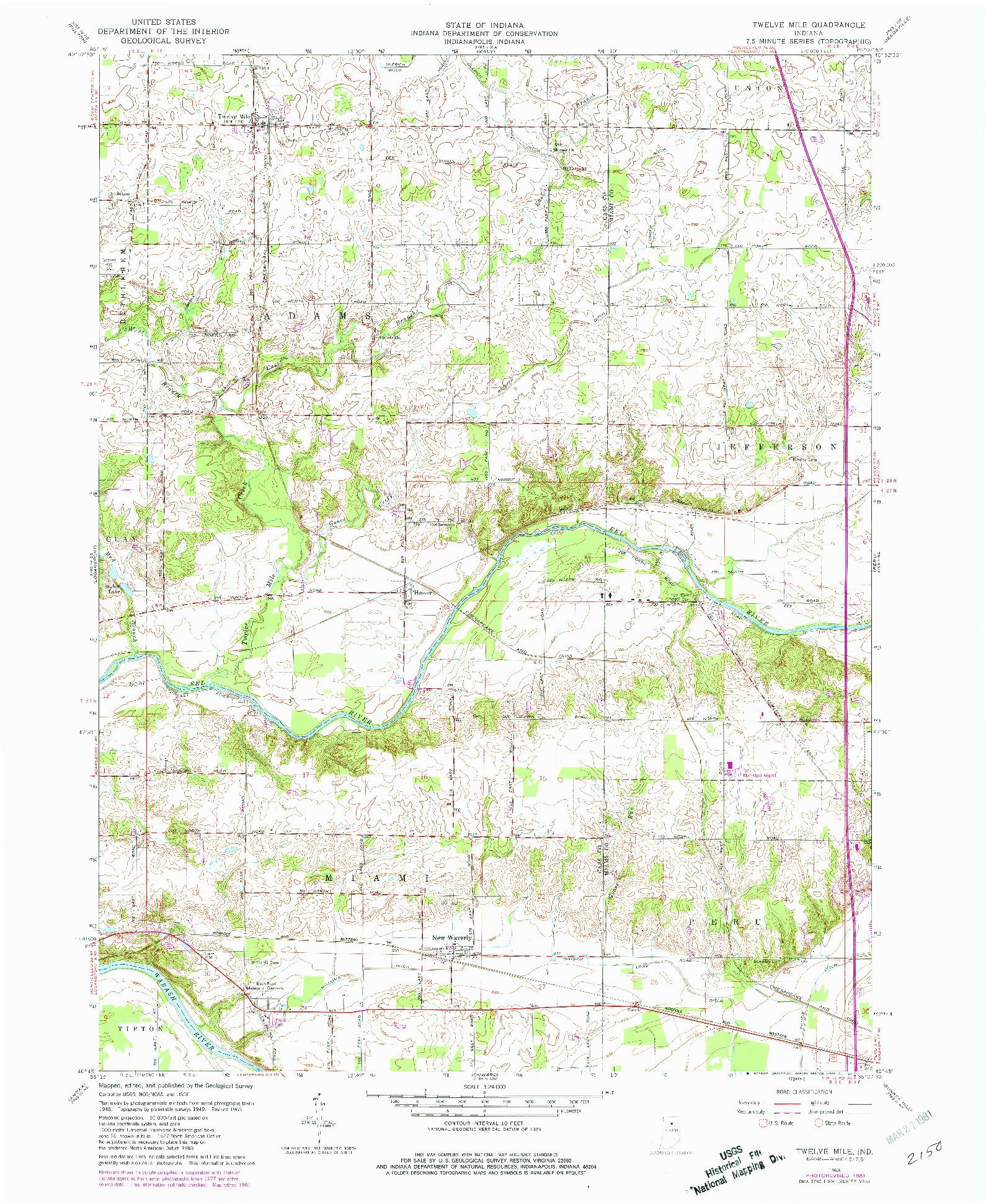 USGS 1:24000-SCALE QUADRANGLE FOR TWELVE MILE, IN 1963
