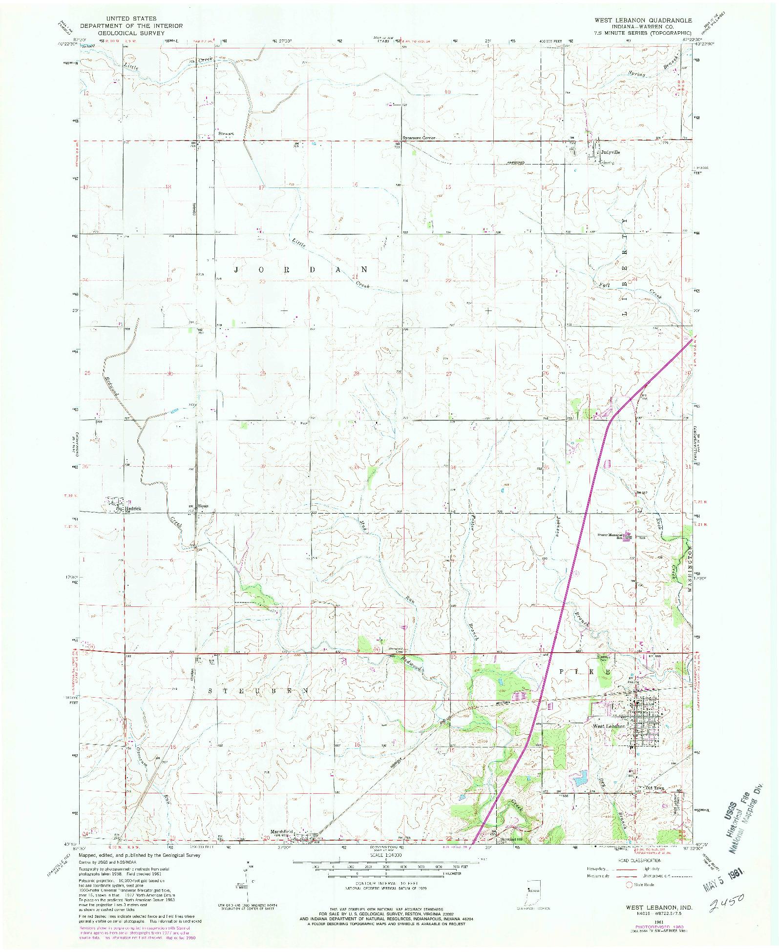 USGS 1:24000-SCALE QUADRANGLE FOR WEST LEBANON, IN 1961