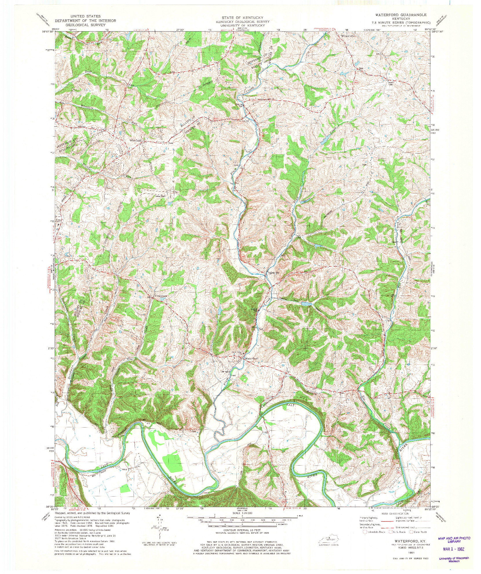 USGS 1:24000-SCALE QUADRANGLE FOR WATERFORD, KY 1981
