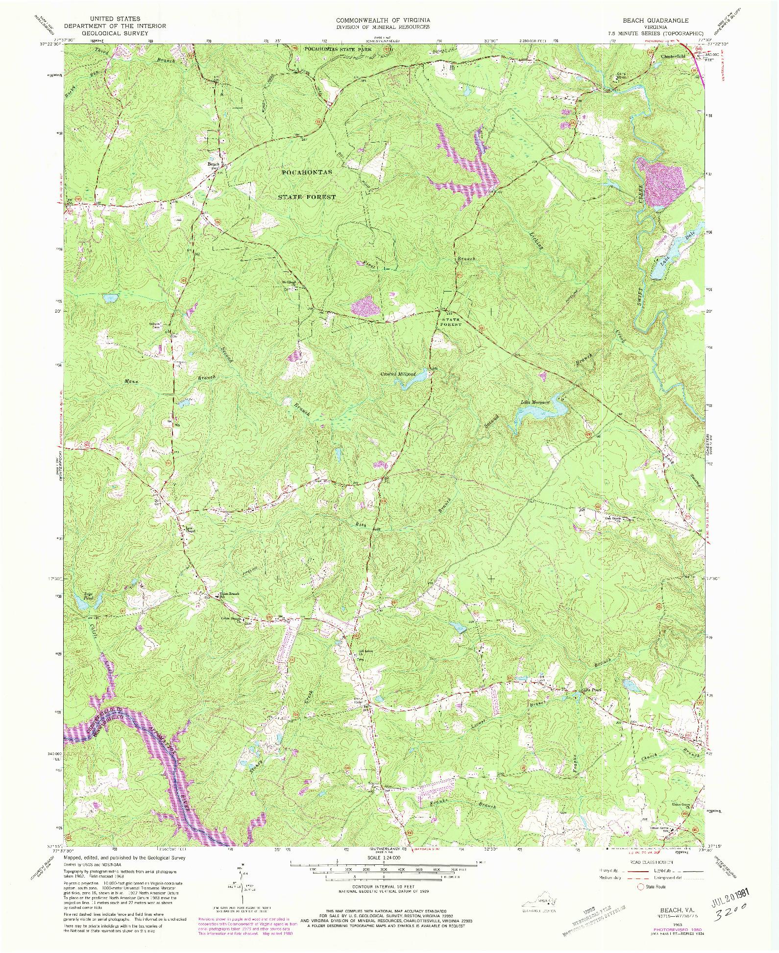 USGS 1:24000-SCALE QUADRANGLE FOR BEACH, VA 1963