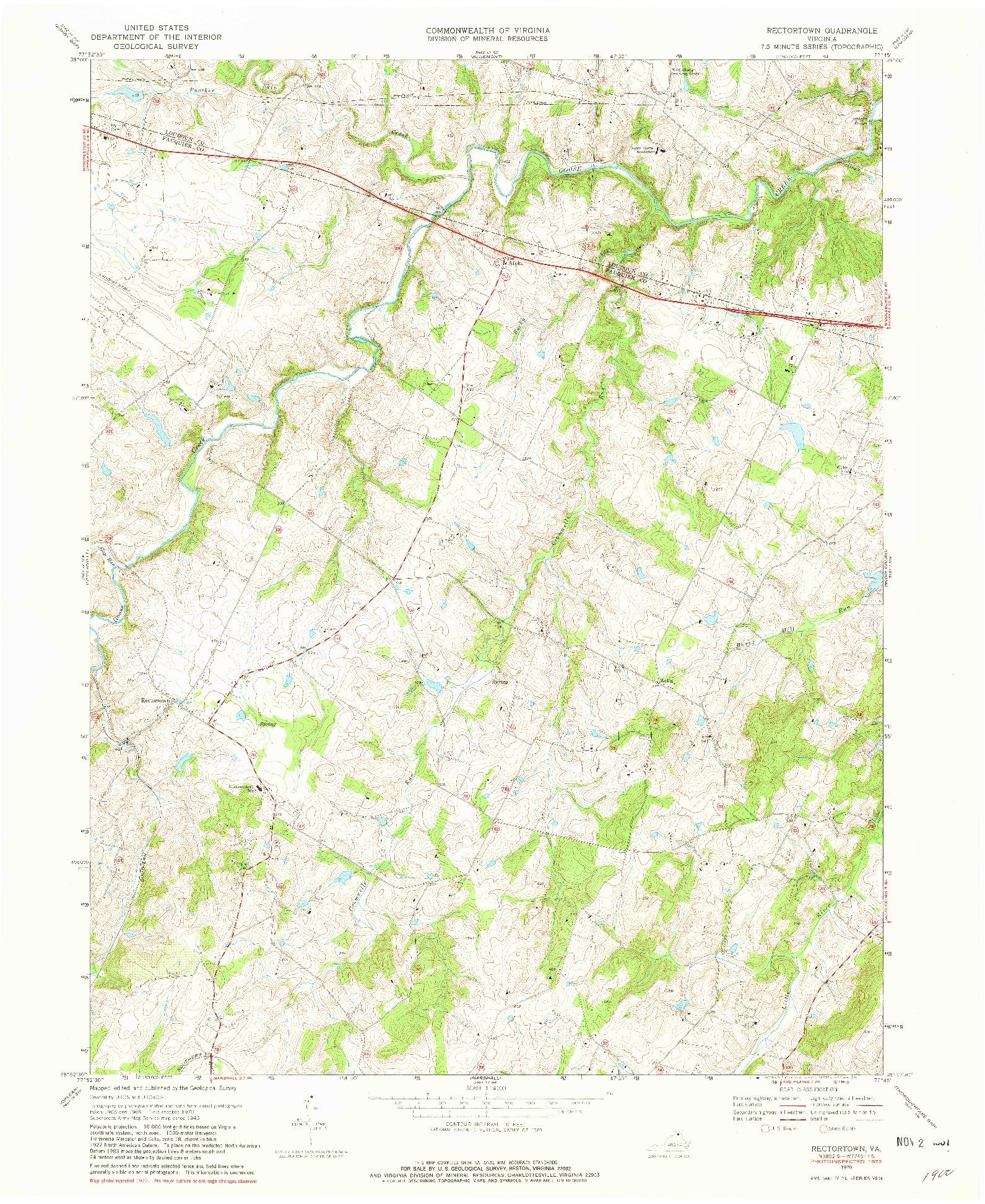 USGS 1:24000-SCALE QUADRANGLE FOR RECTORTOWN, VA 1970