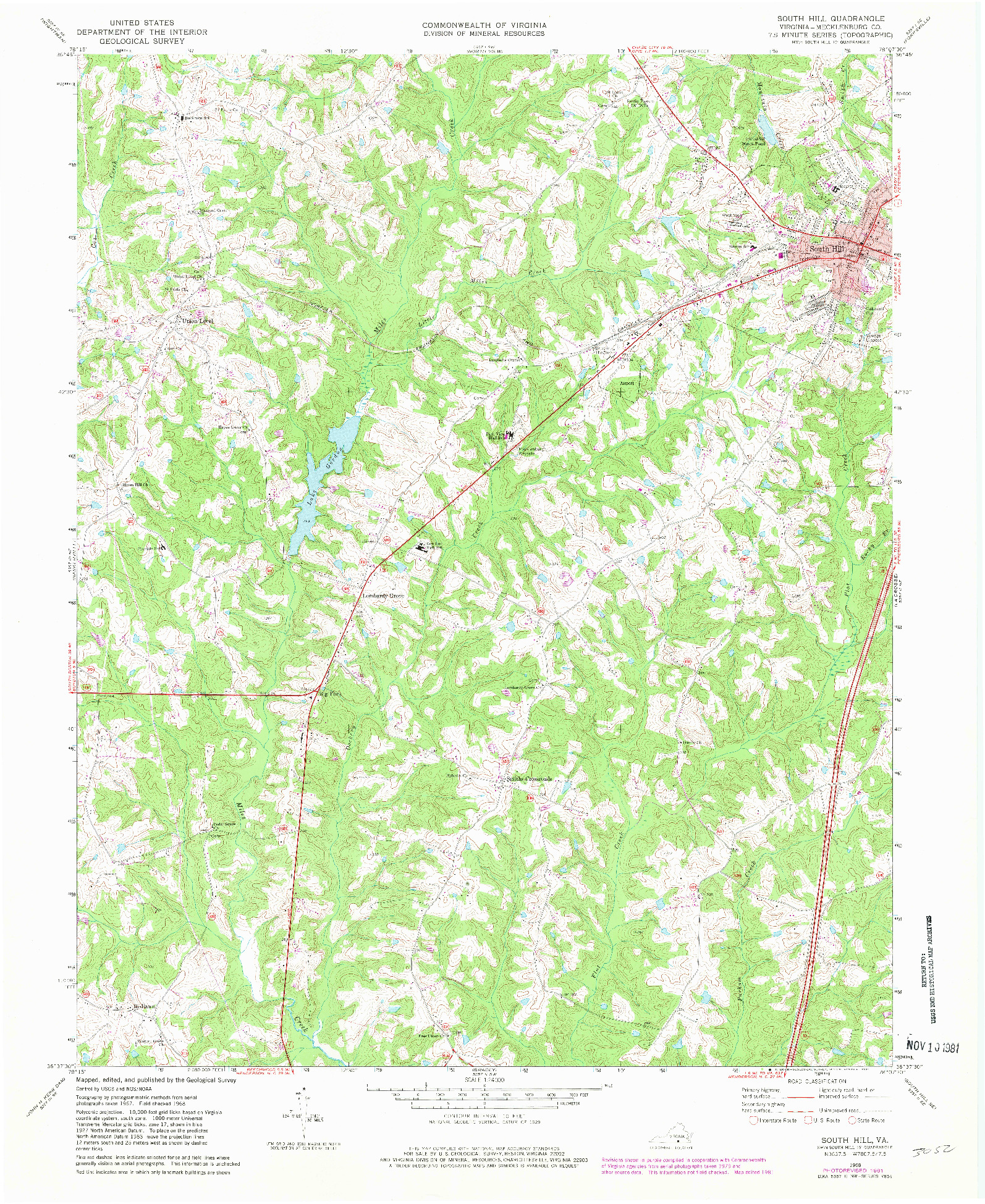 USGS 1:24000-SCALE QUADRANGLE FOR SOUTH HILL, VA 1968
