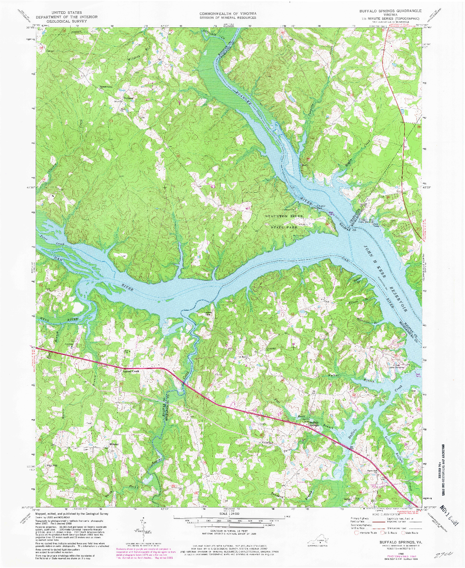 USGS 1:24000-SCALE QUADRANGLE FOR BUFFALO SPRINGS, VA 1968