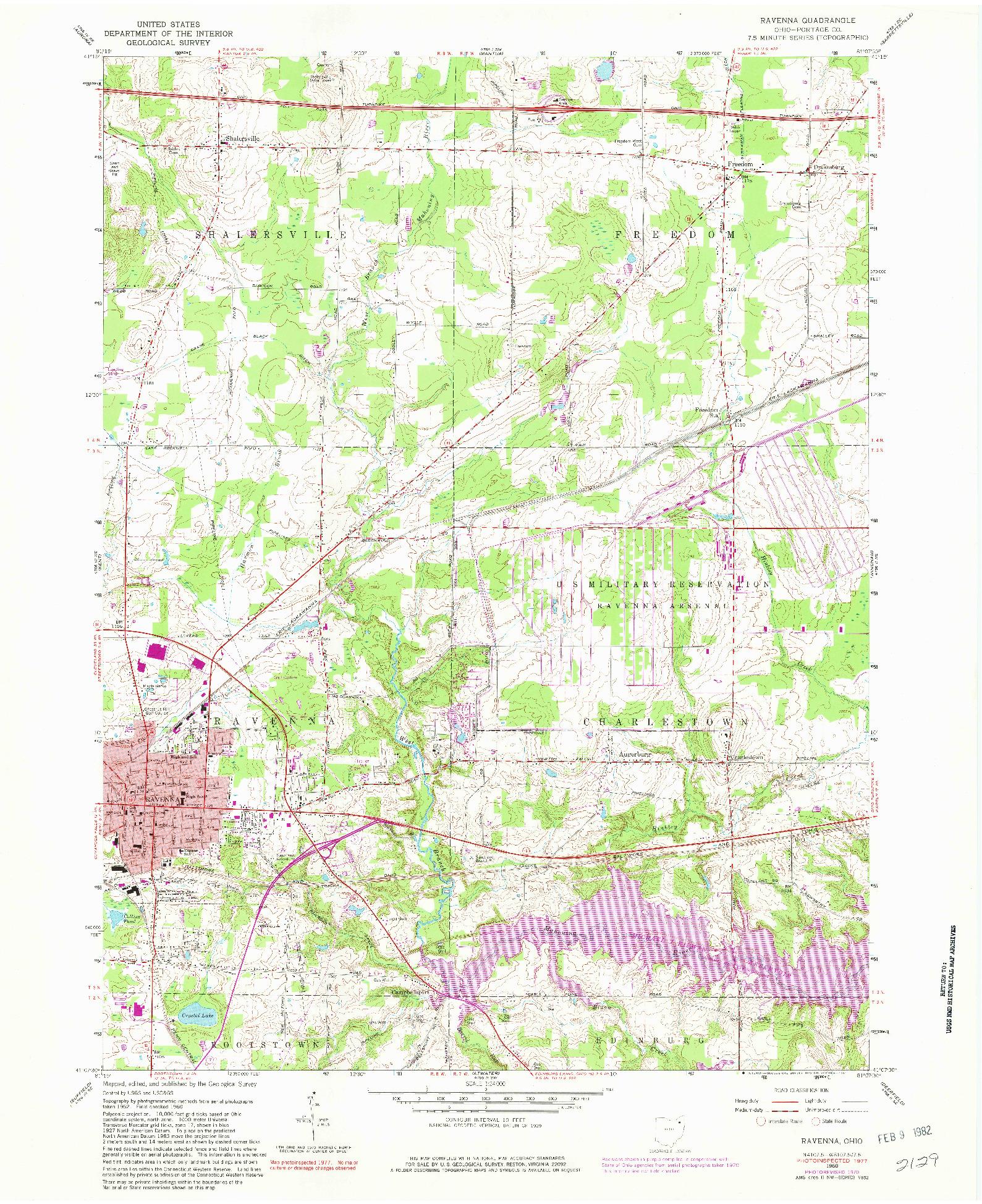 USGS 1:24000-SCALE QUADRANGLE FOR RAVENNA, OH 1960