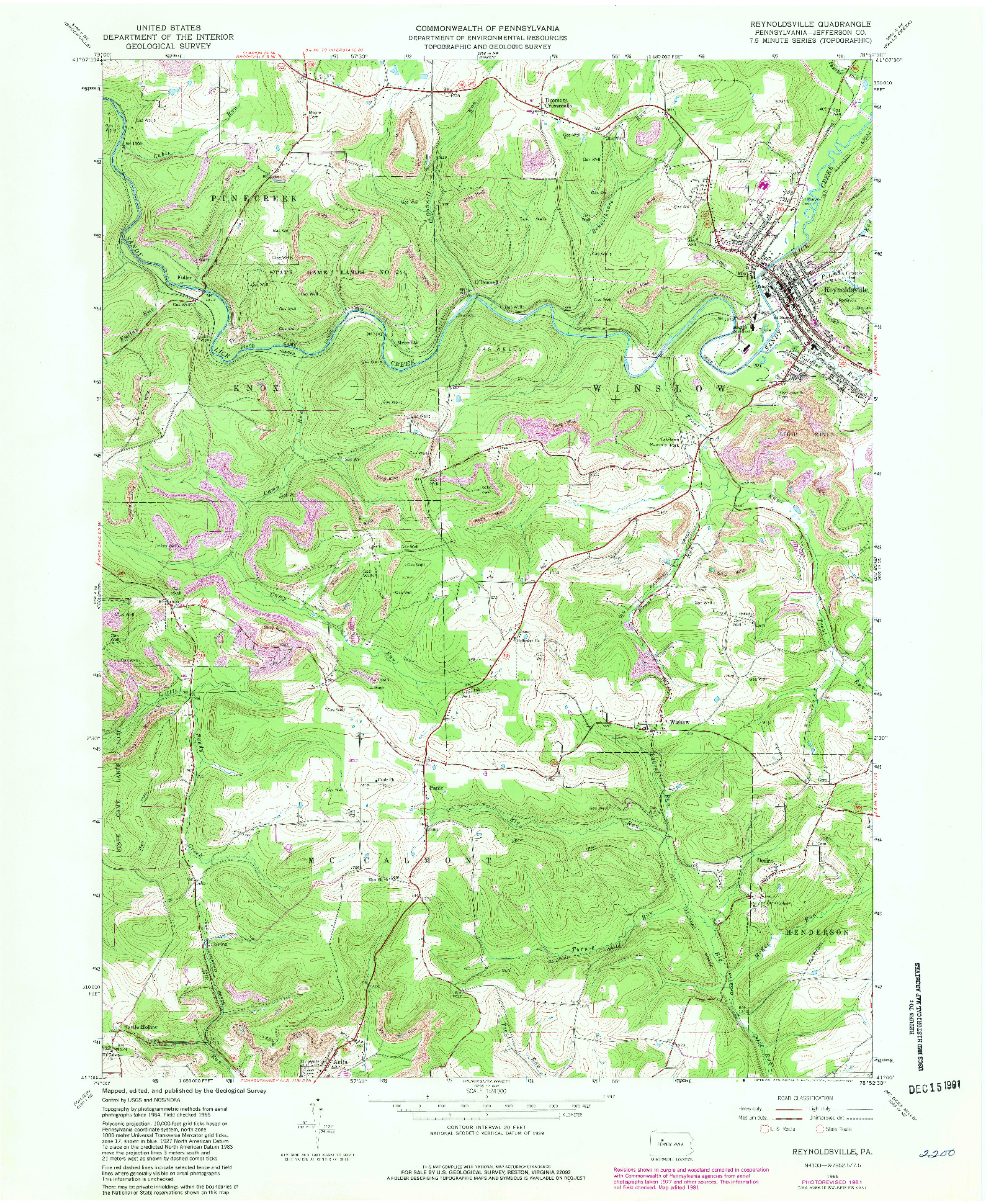 USGS 1:24000-SCALE QUADRANGLE FOR REYNOLDSVILLE, PA 1966