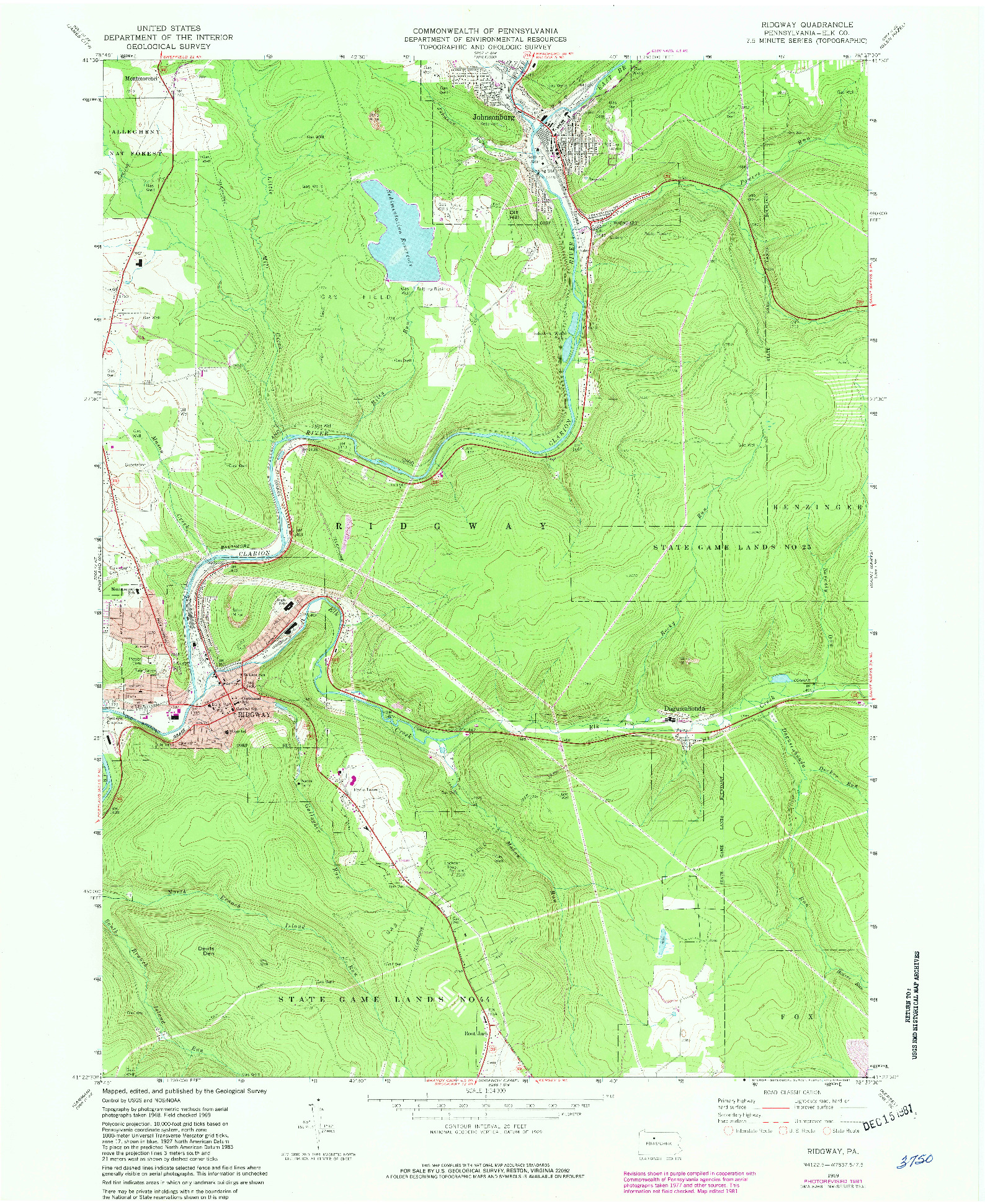 USGS 1:24000-SCALE QUADRANGLE FOR RIDGWAY, PA 1969