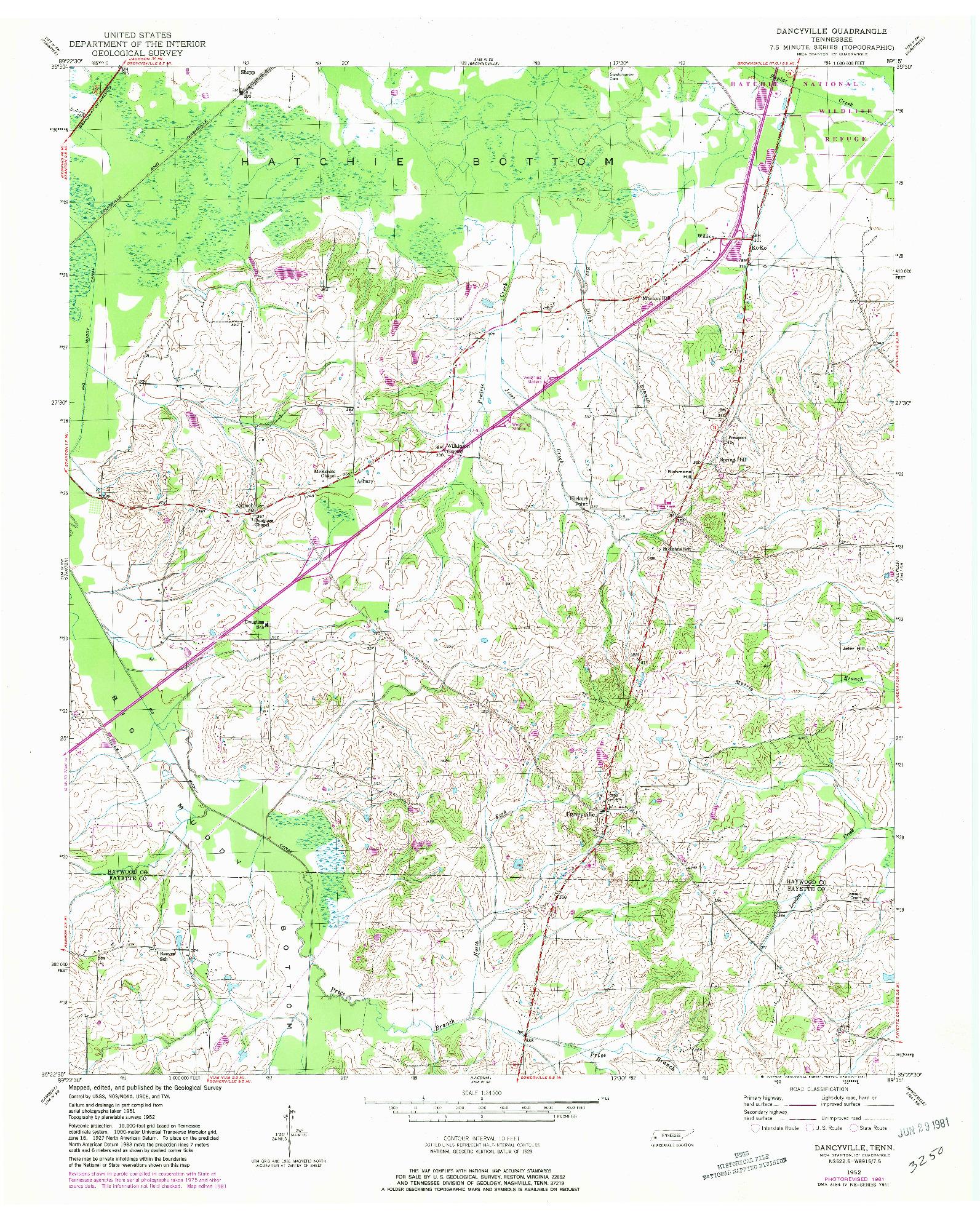 USGS 1:24000-SCALE QUADRANGLE FOR DANCYVILLE, TN 1952