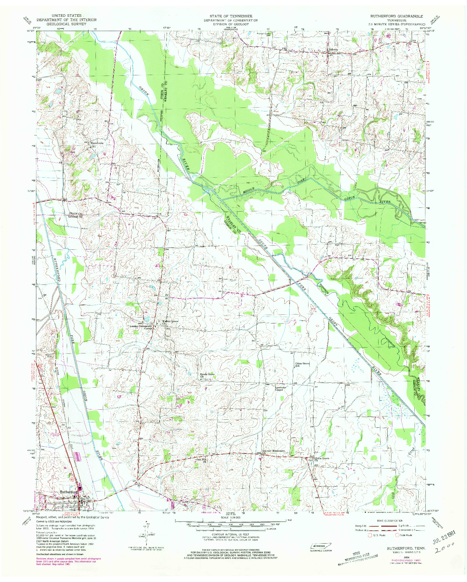 USGS 1:24000-SCALE QUADRANGLE FOR RUTHERFORD, TN 1954