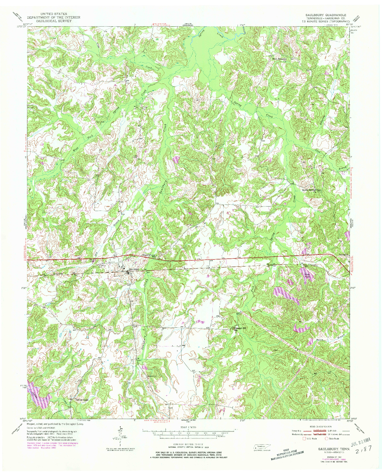 USGS 1:24000-SCALE QUADRANGLE FOR SAULSBURY, TN 1952