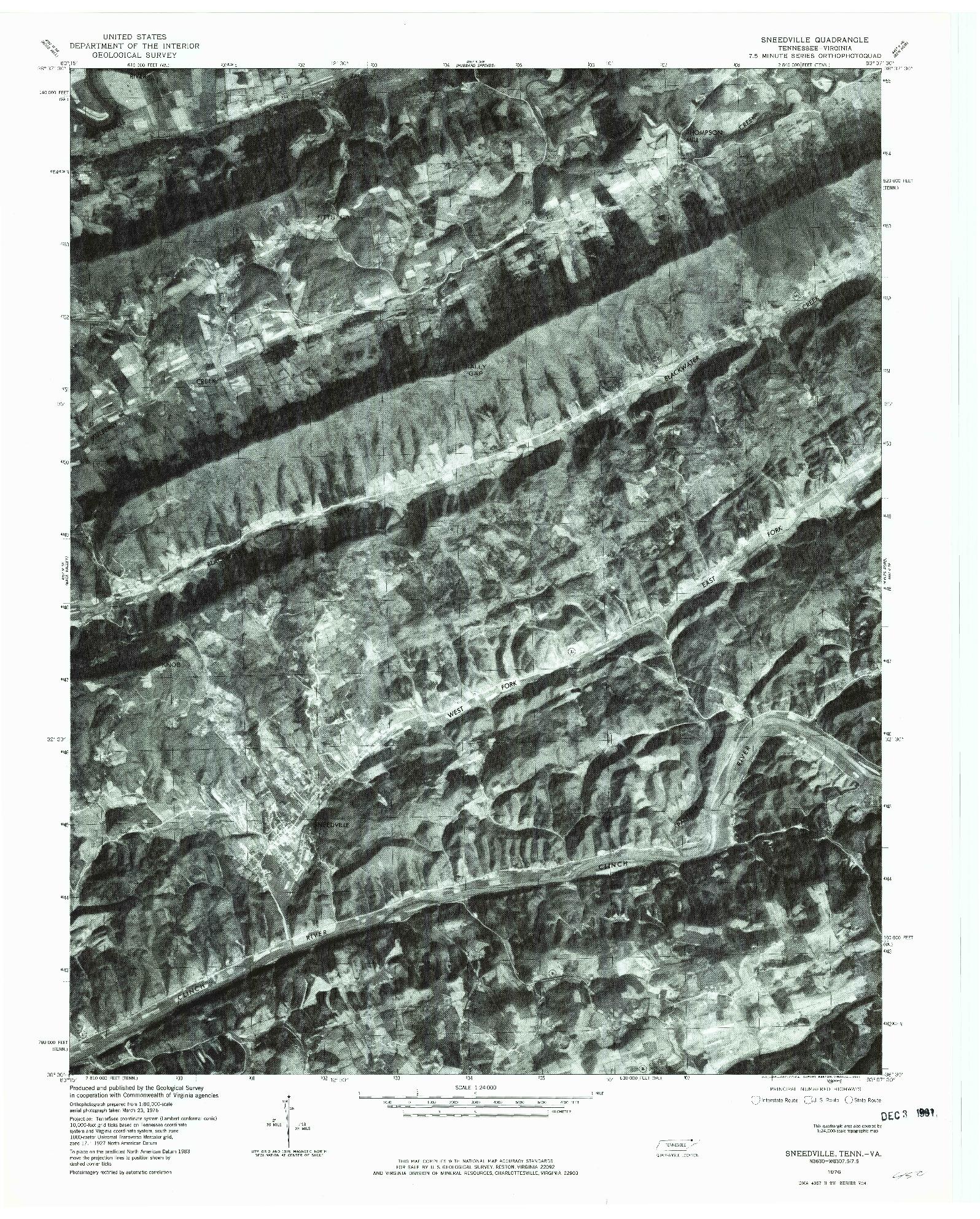USGS 1:24000-SCALE QUADRANGLE FOR SNEEDVILLE, TN 1976