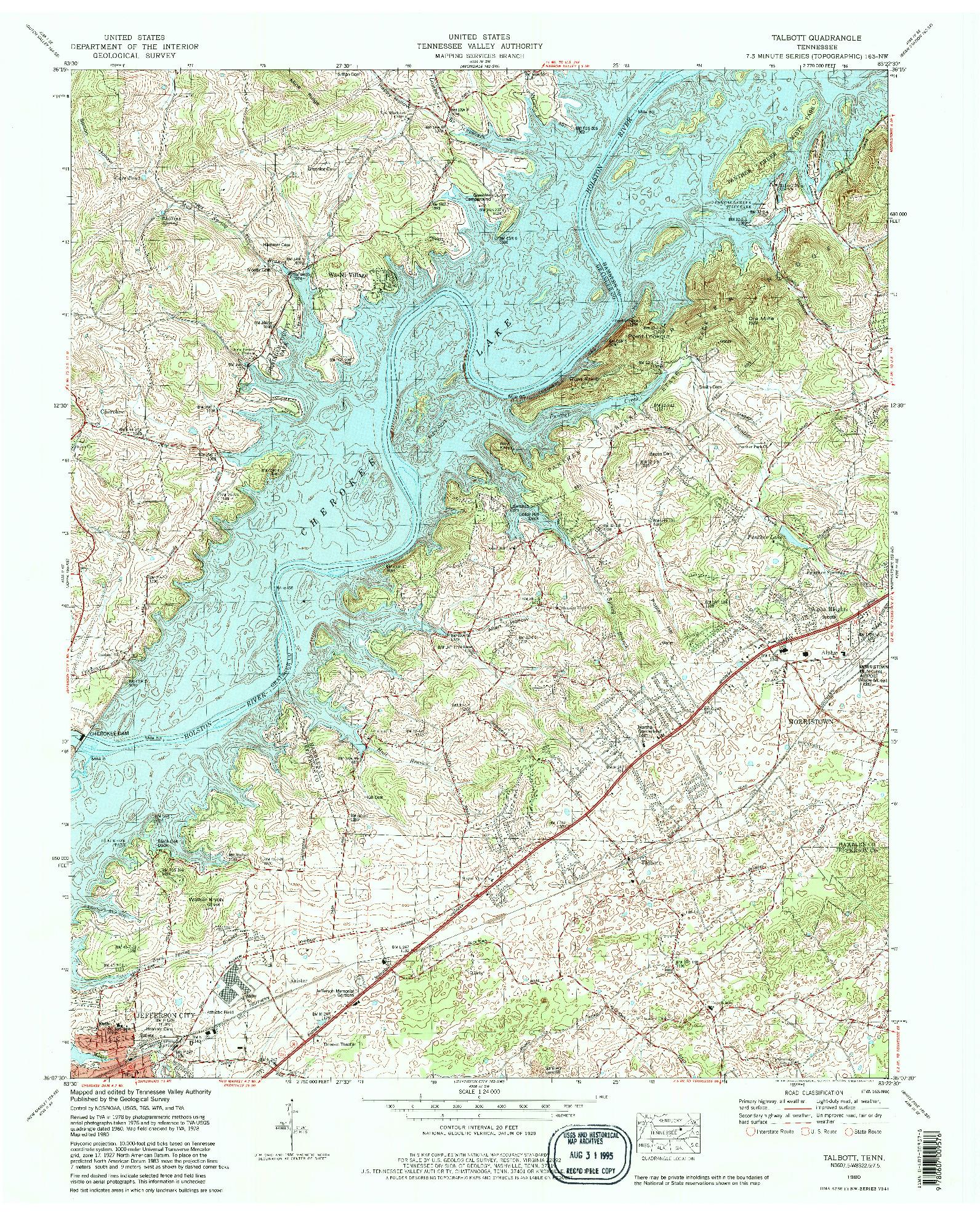 USGS 1:24000-SCALE QUADRANGLE FOR TALBOTT, TN 1980
