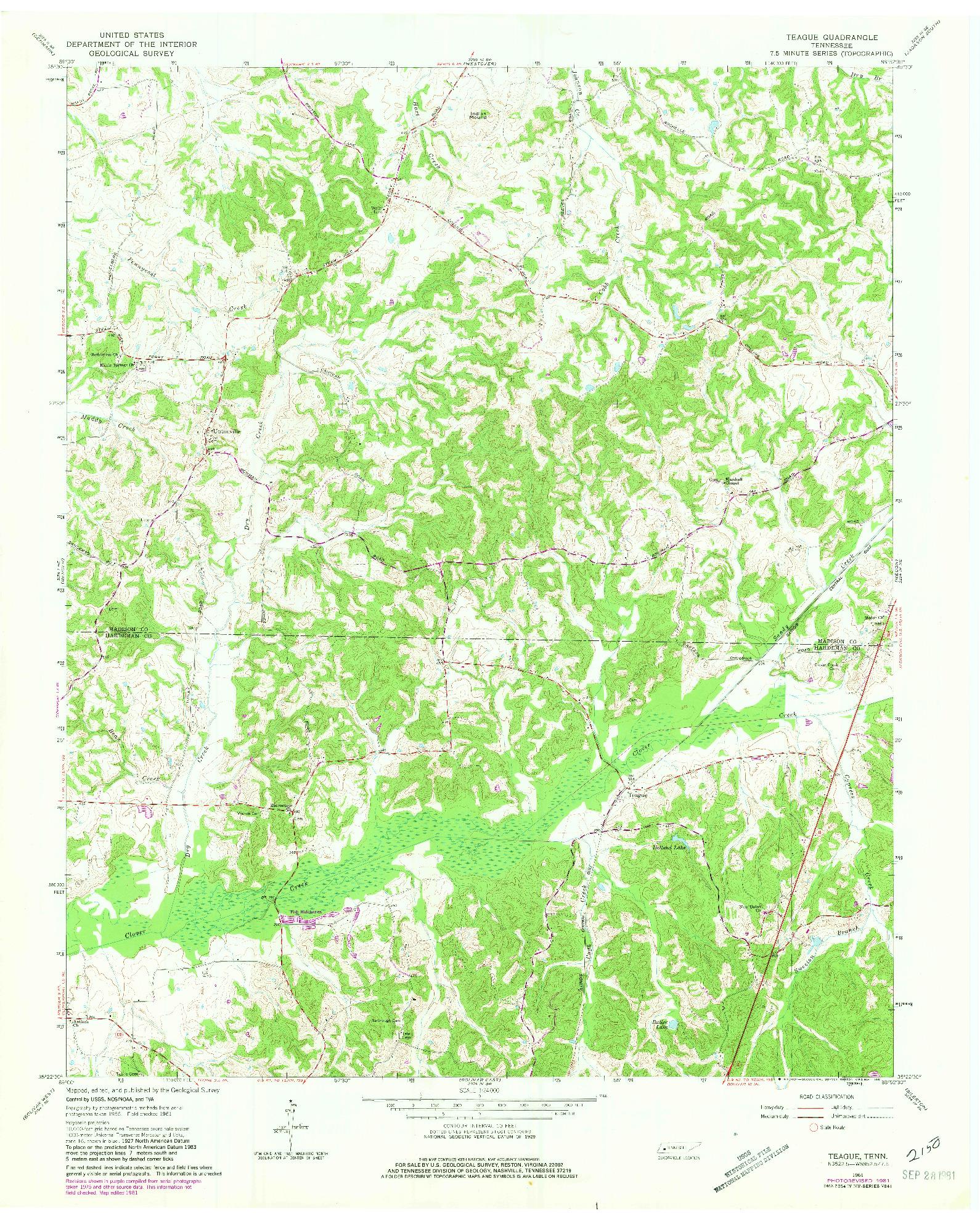 USGS 1:24000-SCALE QUADRANGLE FOR TEAGUE, TN 1961