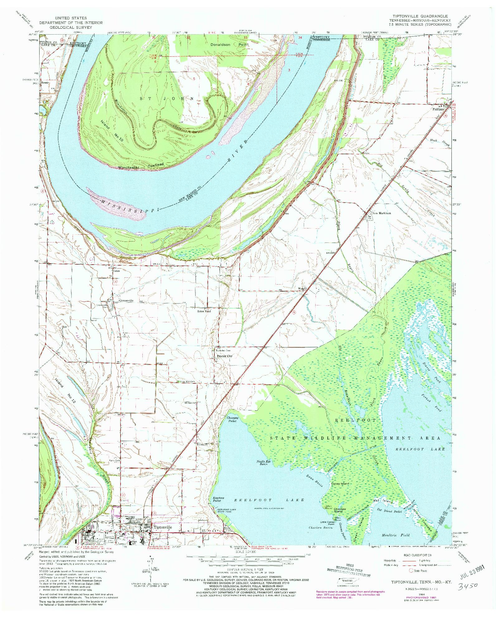 USGS 1:24000-SCALE QUADRANGLE FOR TIPTONVILLE, TN 1964