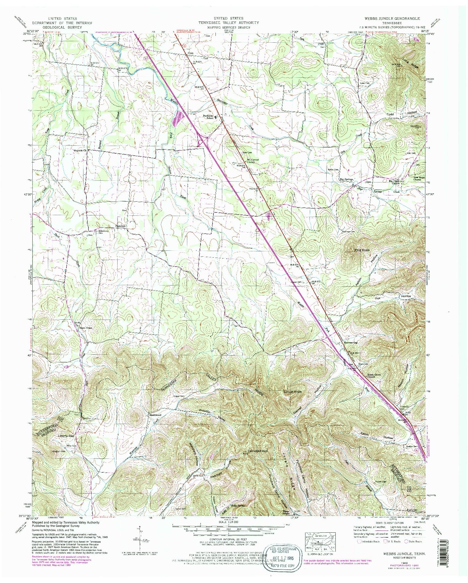 USGS 1:24000-SCALE QUADRANGLE FOR WEBBS JUNGLE, TN 1949