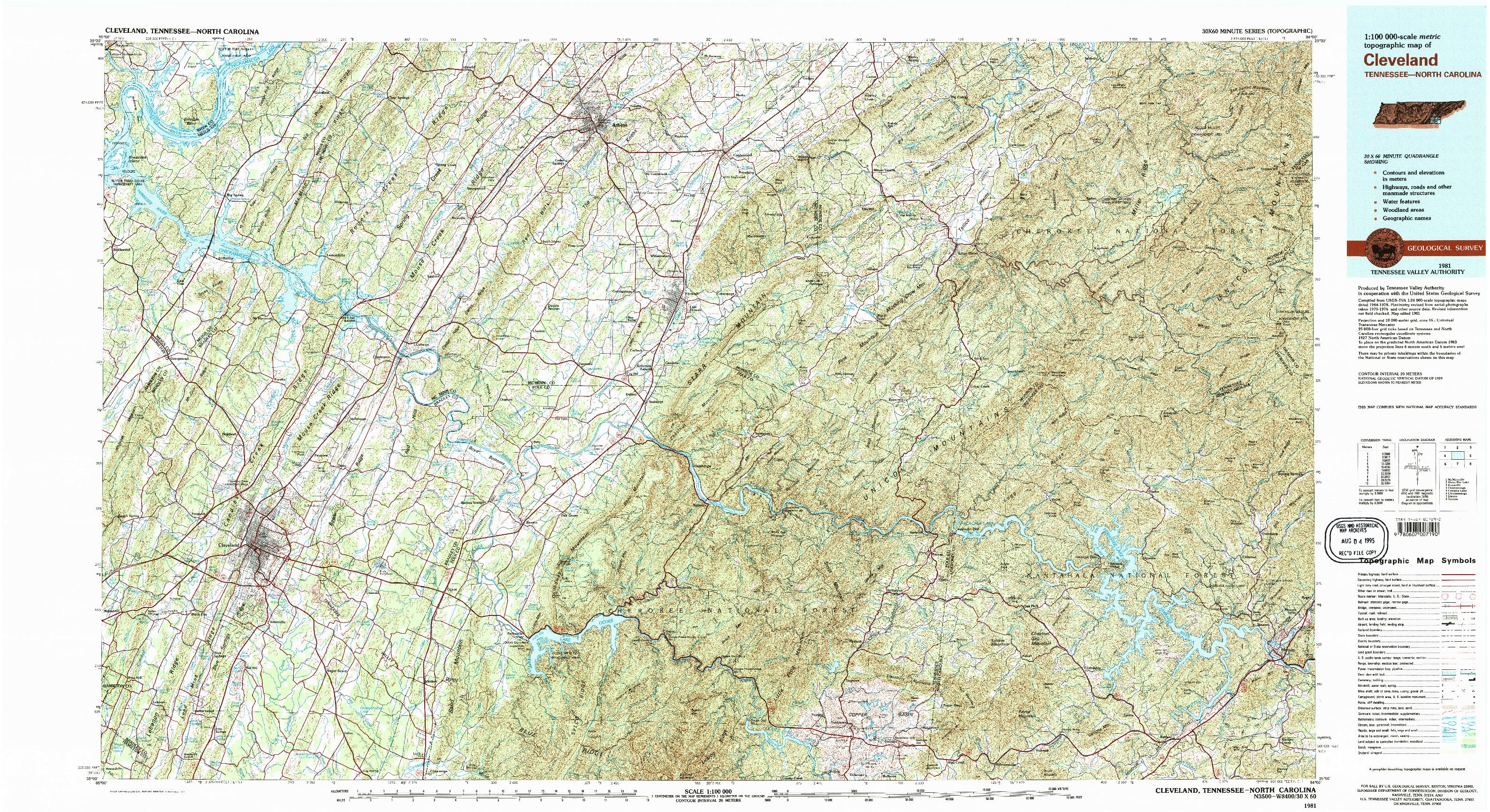 USGS 1:100000-SCALE QUADRANGLE FOR CLEVELAND, TN 1981