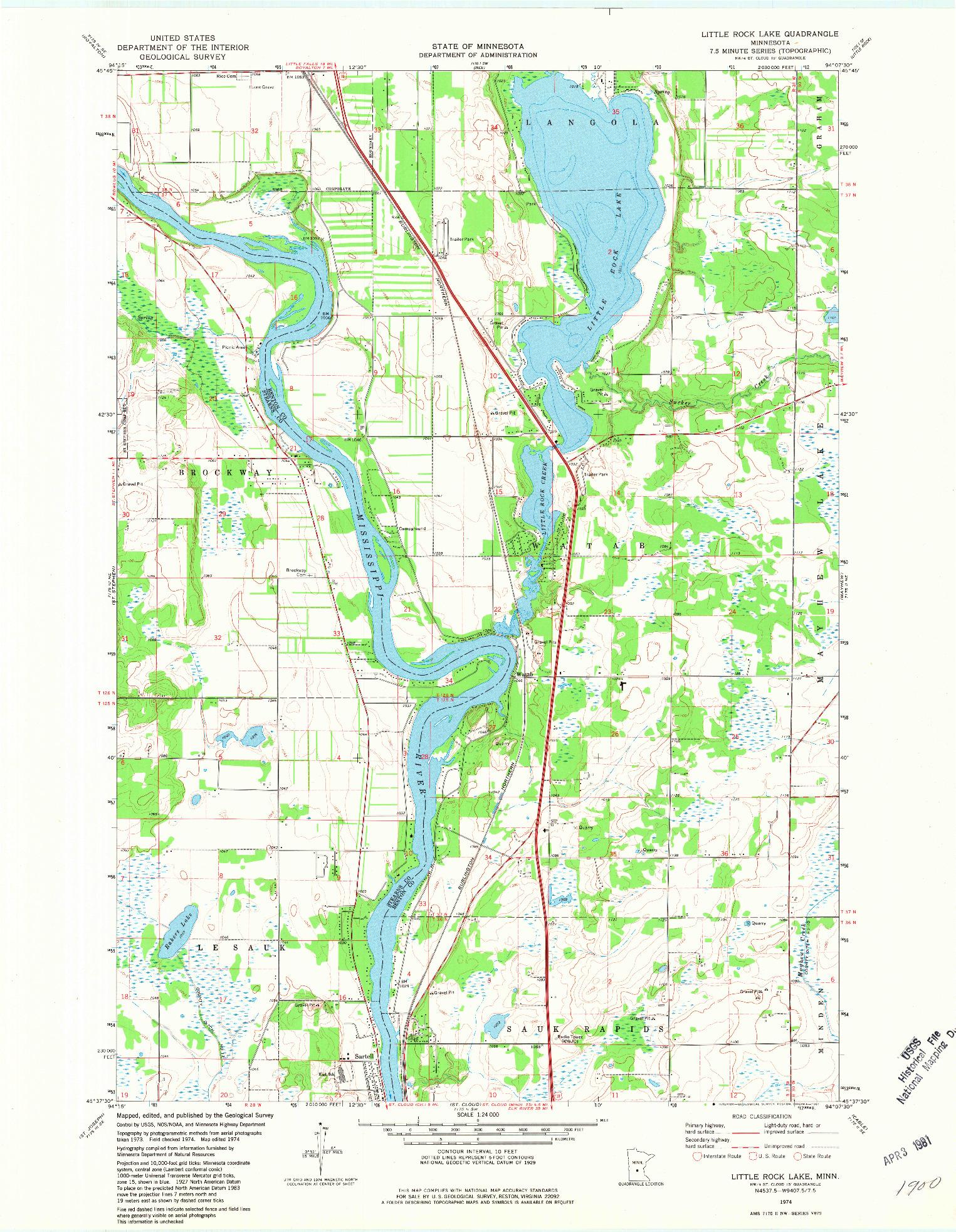 USGS 1:24000-SCALE QUADRANGLE FOR LITTLE ROCK LAKE, MN 1974