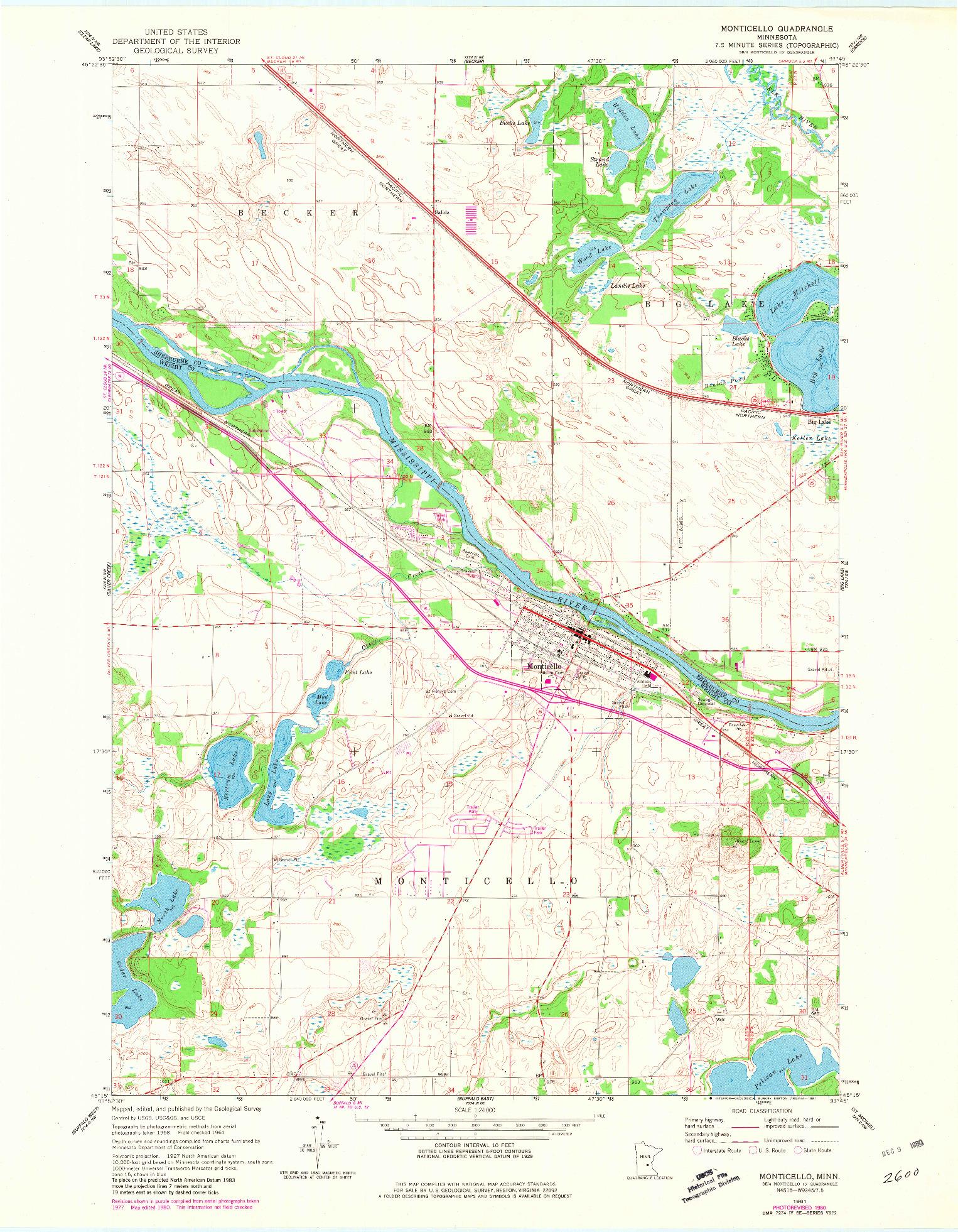 USGS 1:24000-SCALE QUADRANGLE FOR MONTICELLO, MN 1961
