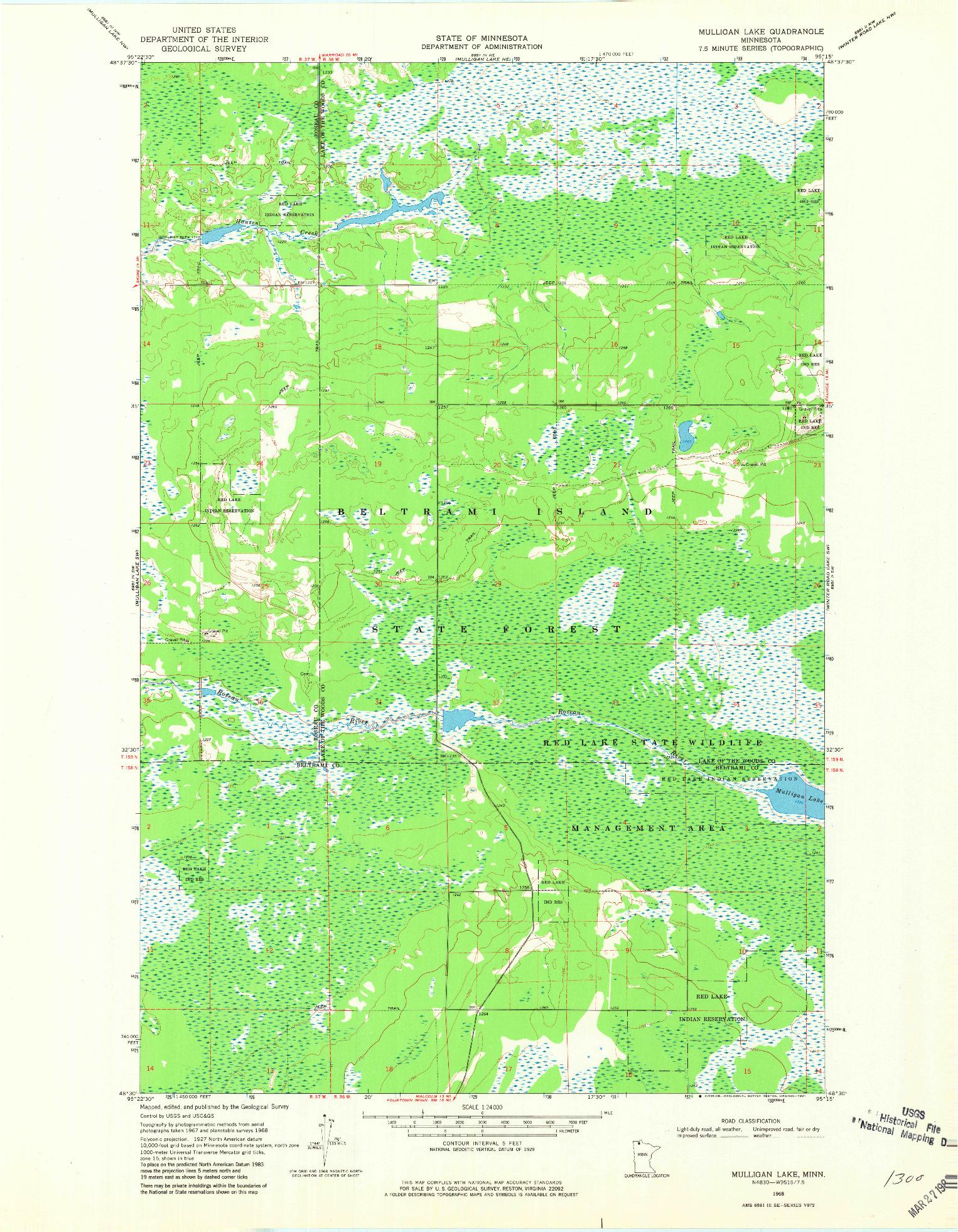 USGS 1:24000-SCALE QUADRANGLE FOR MULLIGAN LAKE, MN 1968